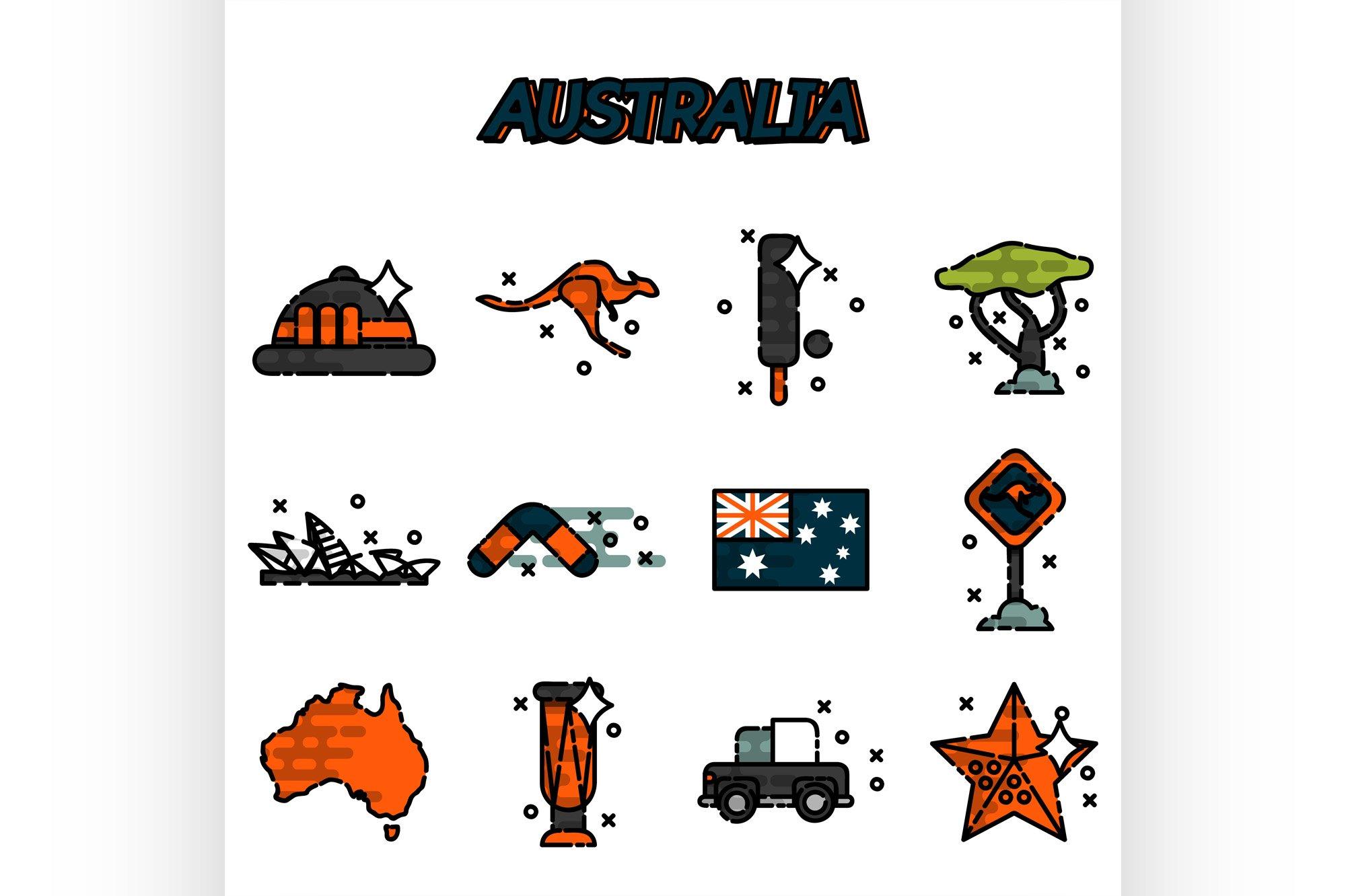 Australia flat icons set example image 1
