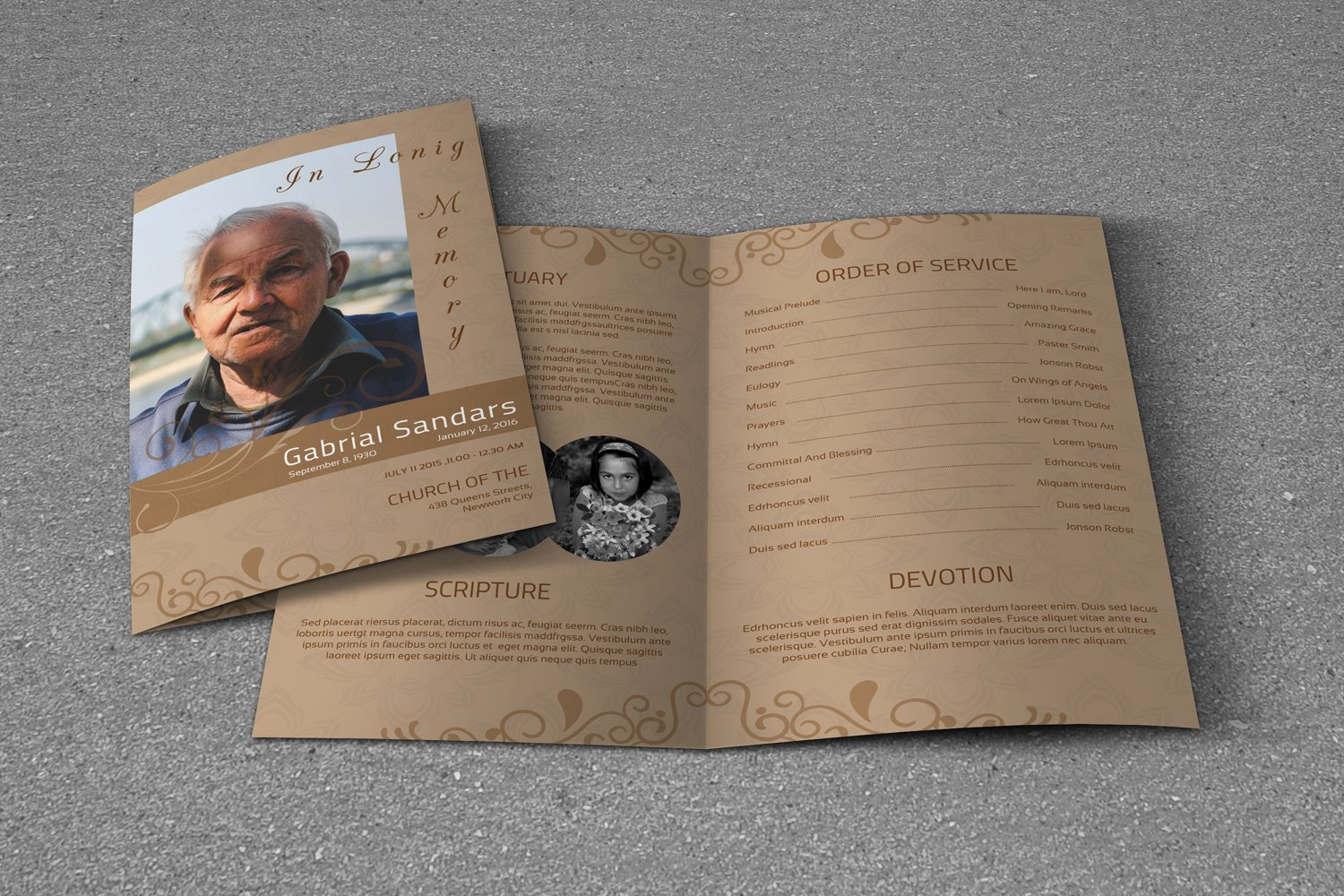 Funeral Program Template, Ms Word & Photoshop Template example image 3
