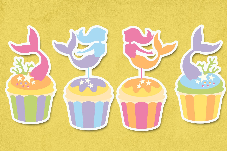 Mermaid cupcake illustrations clip art example image 3