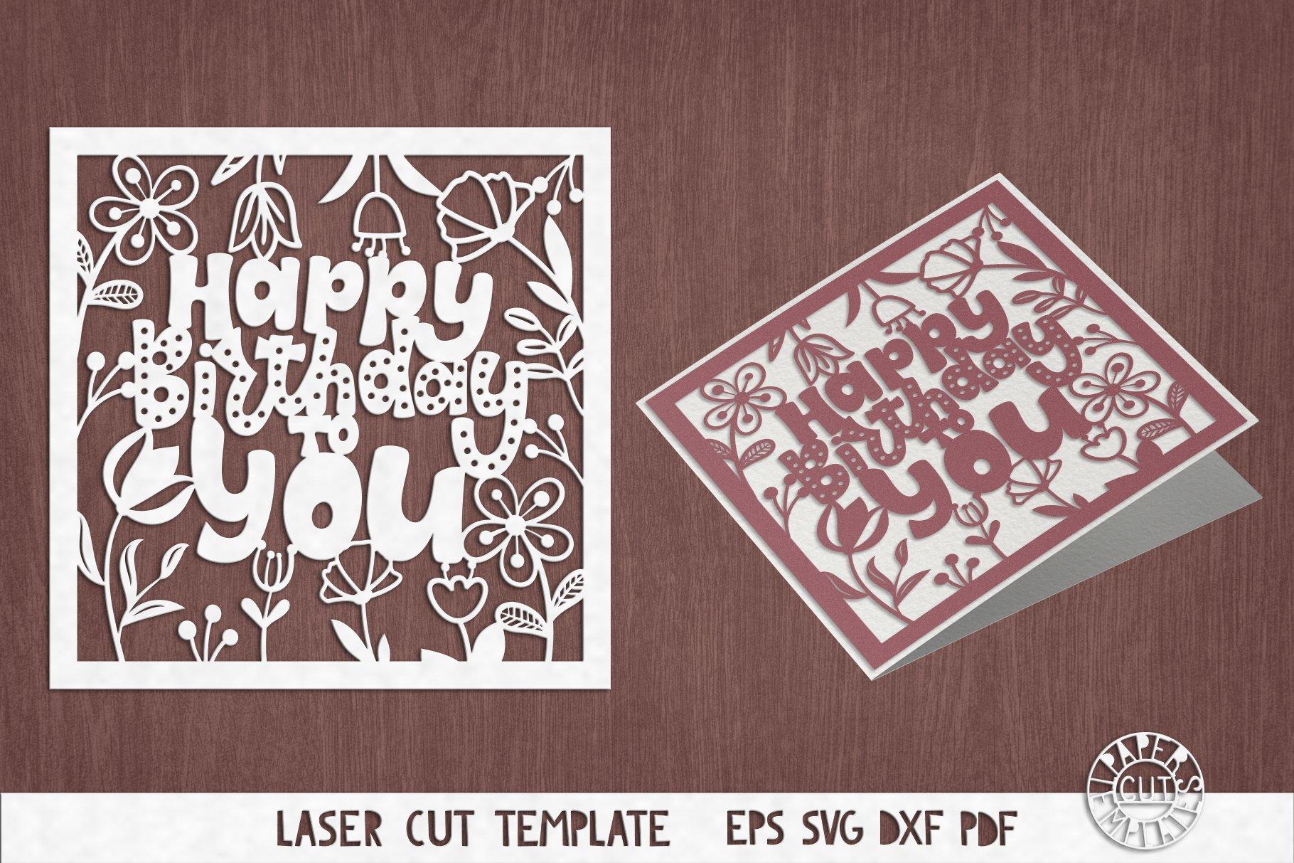 SVG Birthday card cut file for Cricut, Silhouette Cameo.
