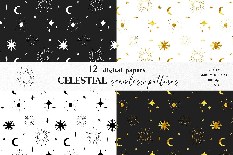 Moon digital paper, Celestial seamless pattern example image 4