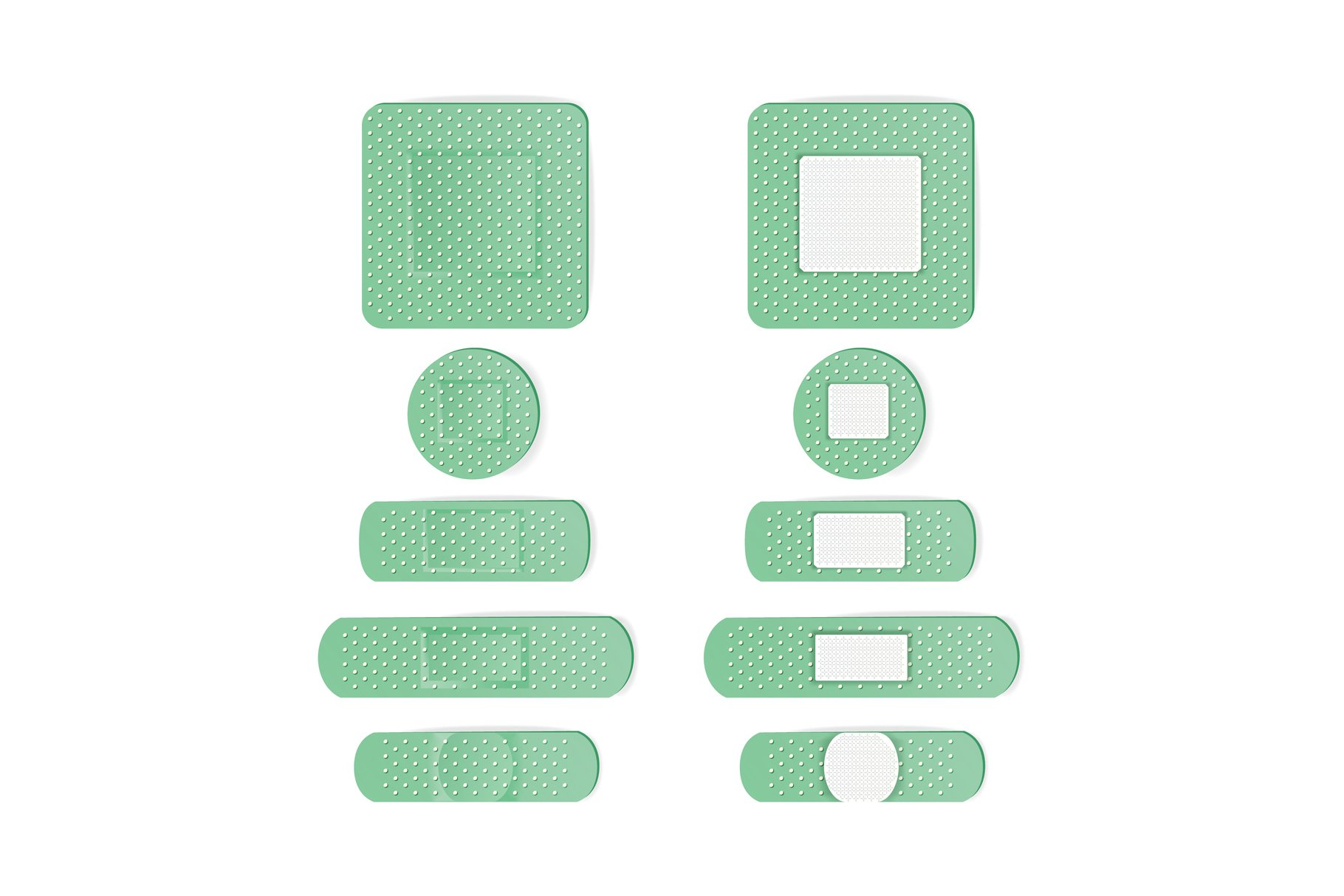 Medical Patch Vector. Bandage In Different Shape. Two Sides. example image 1