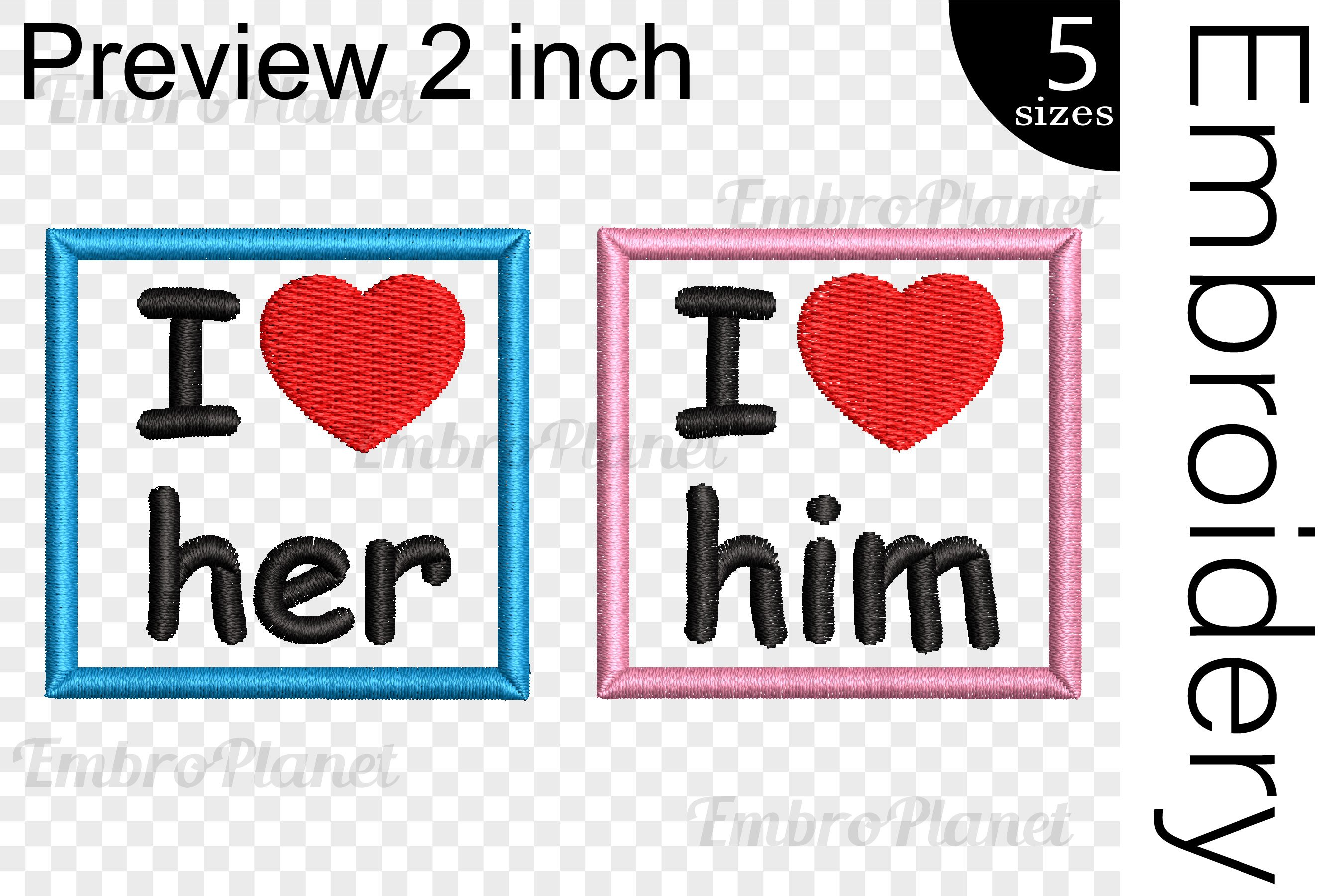 I Love Him or Her - Embroidery files - 1501e example image 2