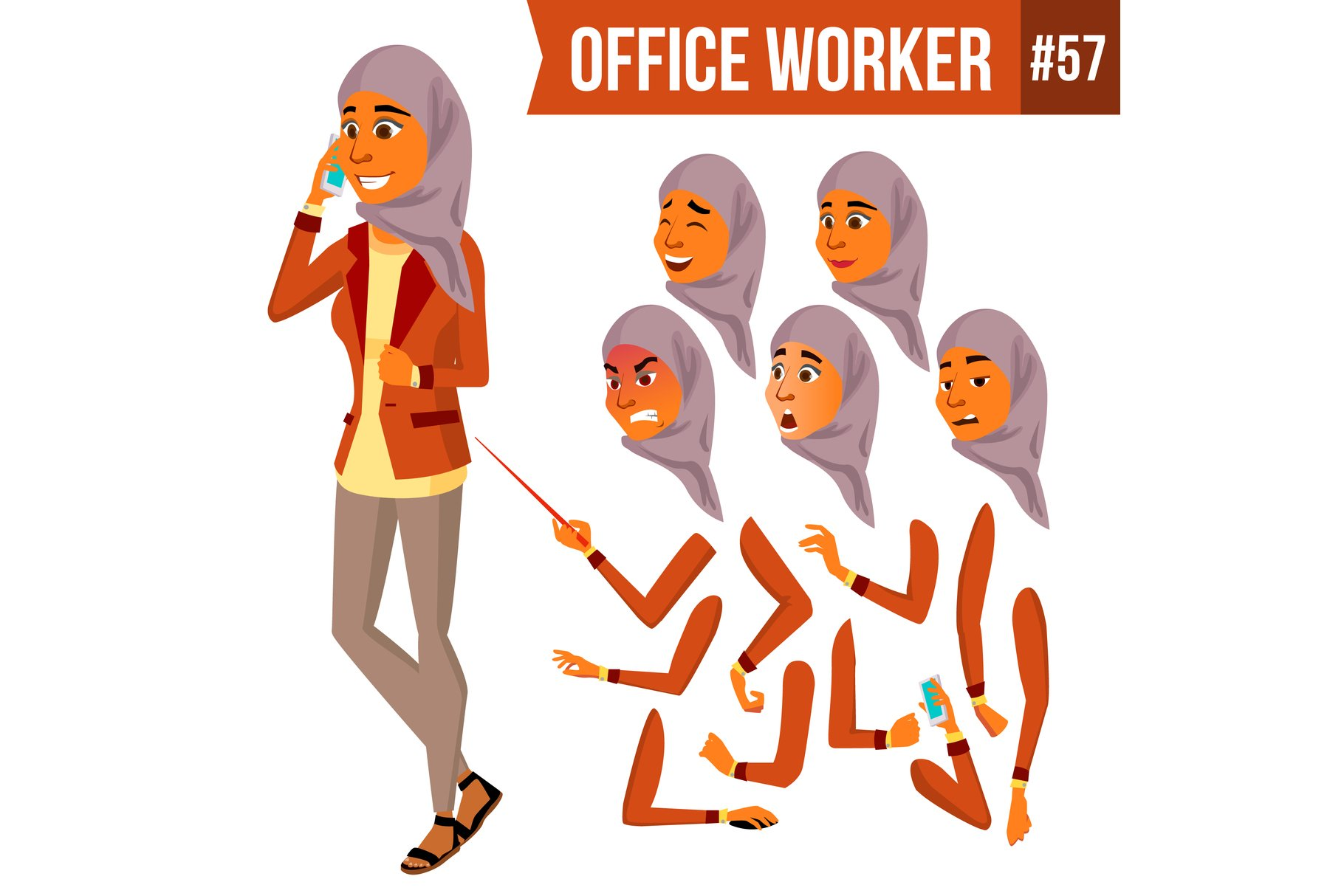 Arab Office Worker Vector. Woman. Traditional Clothes. example image 1