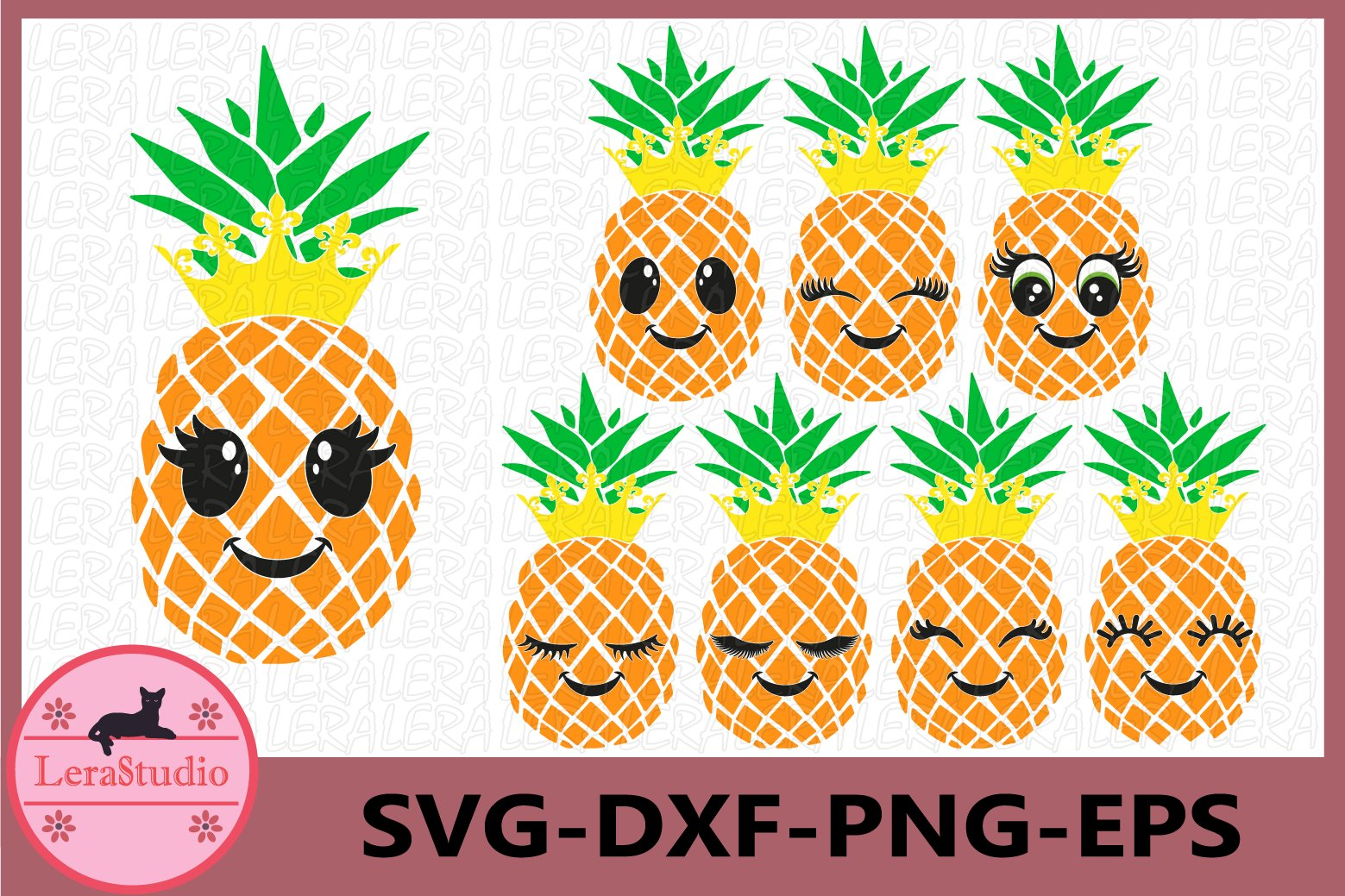 Pineapple face Svg, Pineapples SVG, Eyelashes SVG, Crown ...