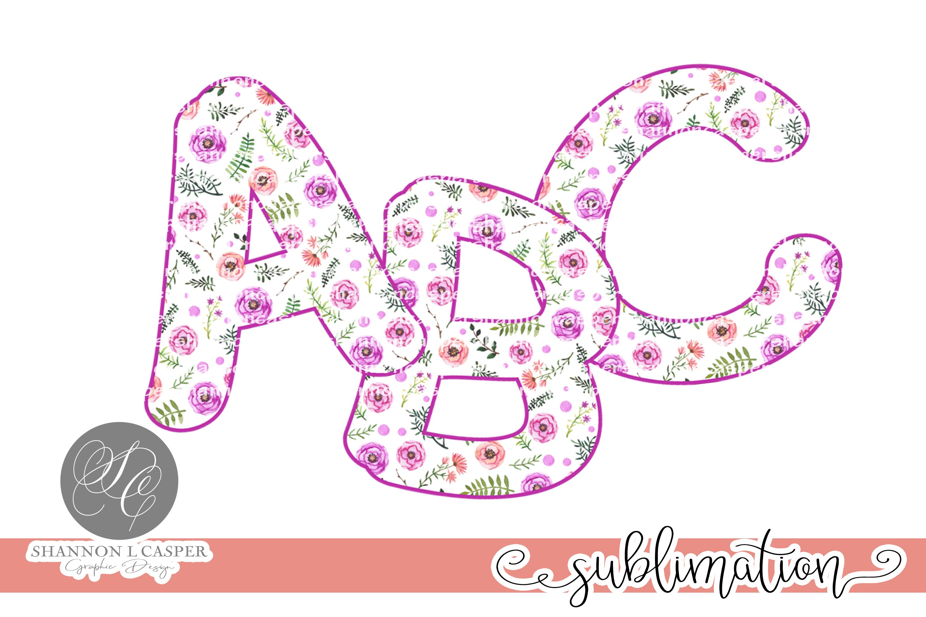 Purple Floral Chunky Font PNG example image 1
