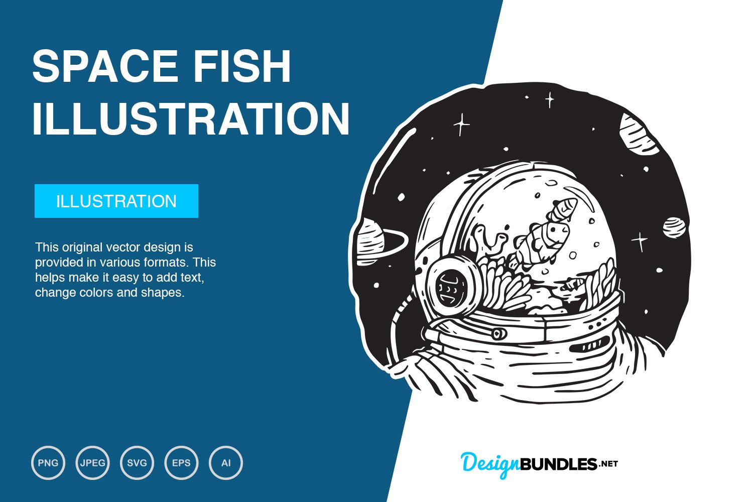 Space Fish Vector Illustration example image 1