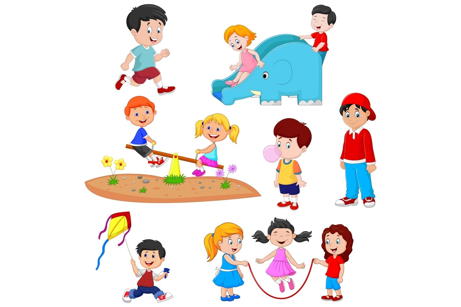 Cartoon Kids Playing Clipart Set Graphic example image 1