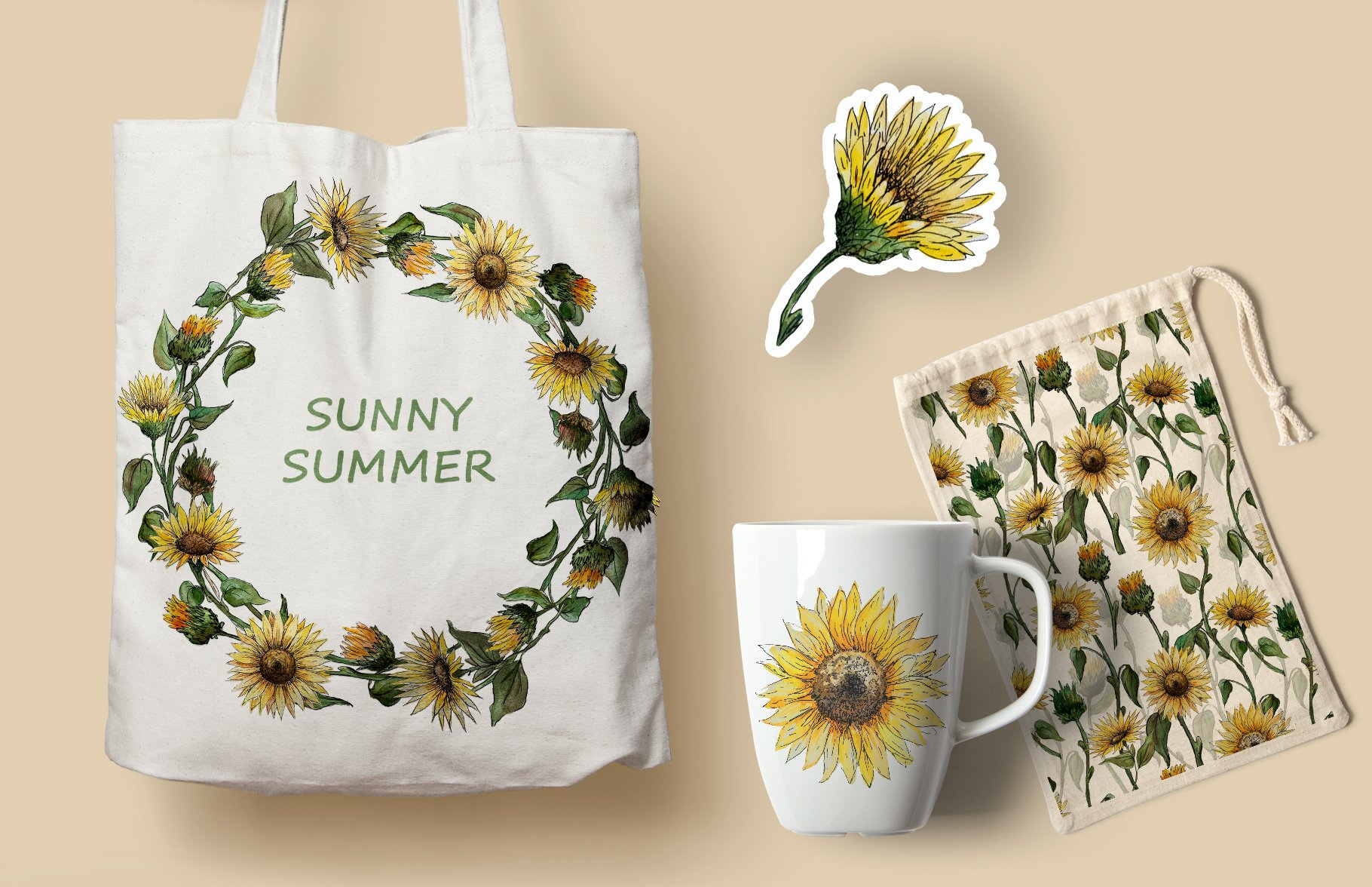 Watercolor Sunflower Clipart Collection example image 11