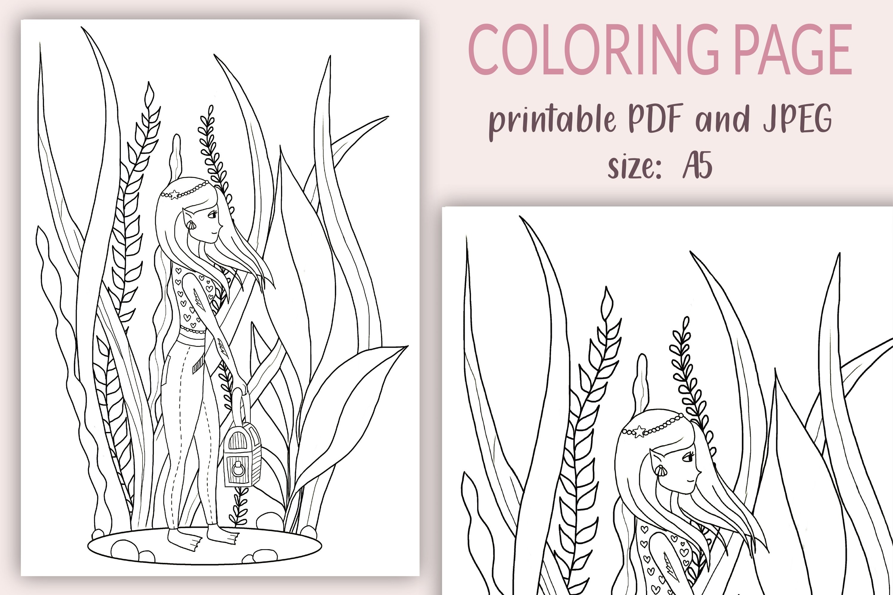 - Coloring Pages For Kids, Underwater Girl Coloring Page, PDF