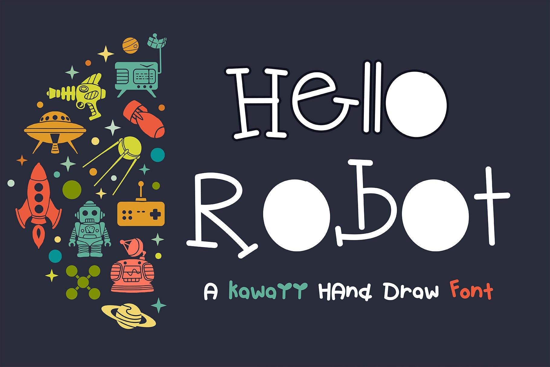 Hello Robot Handwritten- cute kid font Kawaii style! example image 1