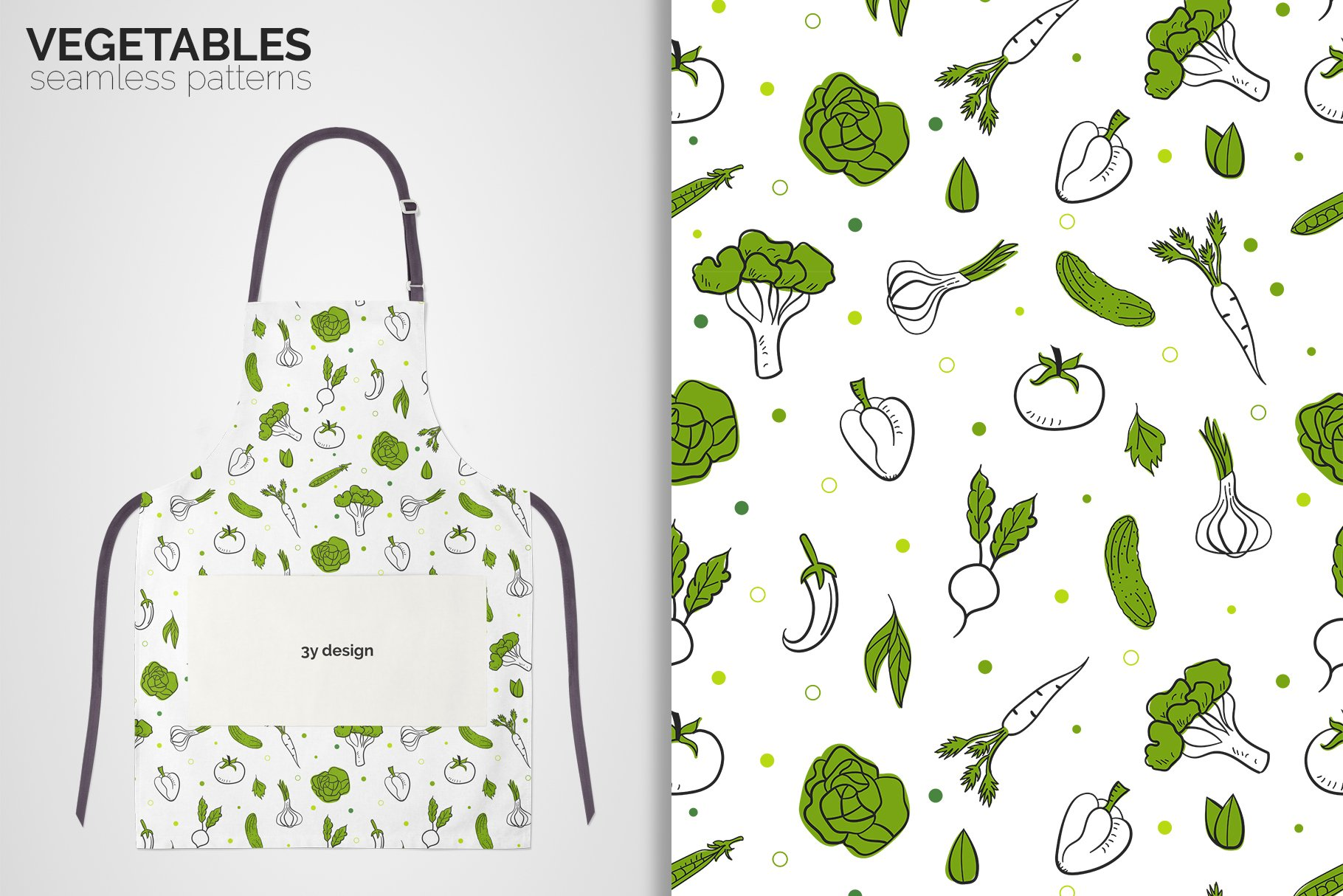 Vegetables Seamless Patterns example image 6