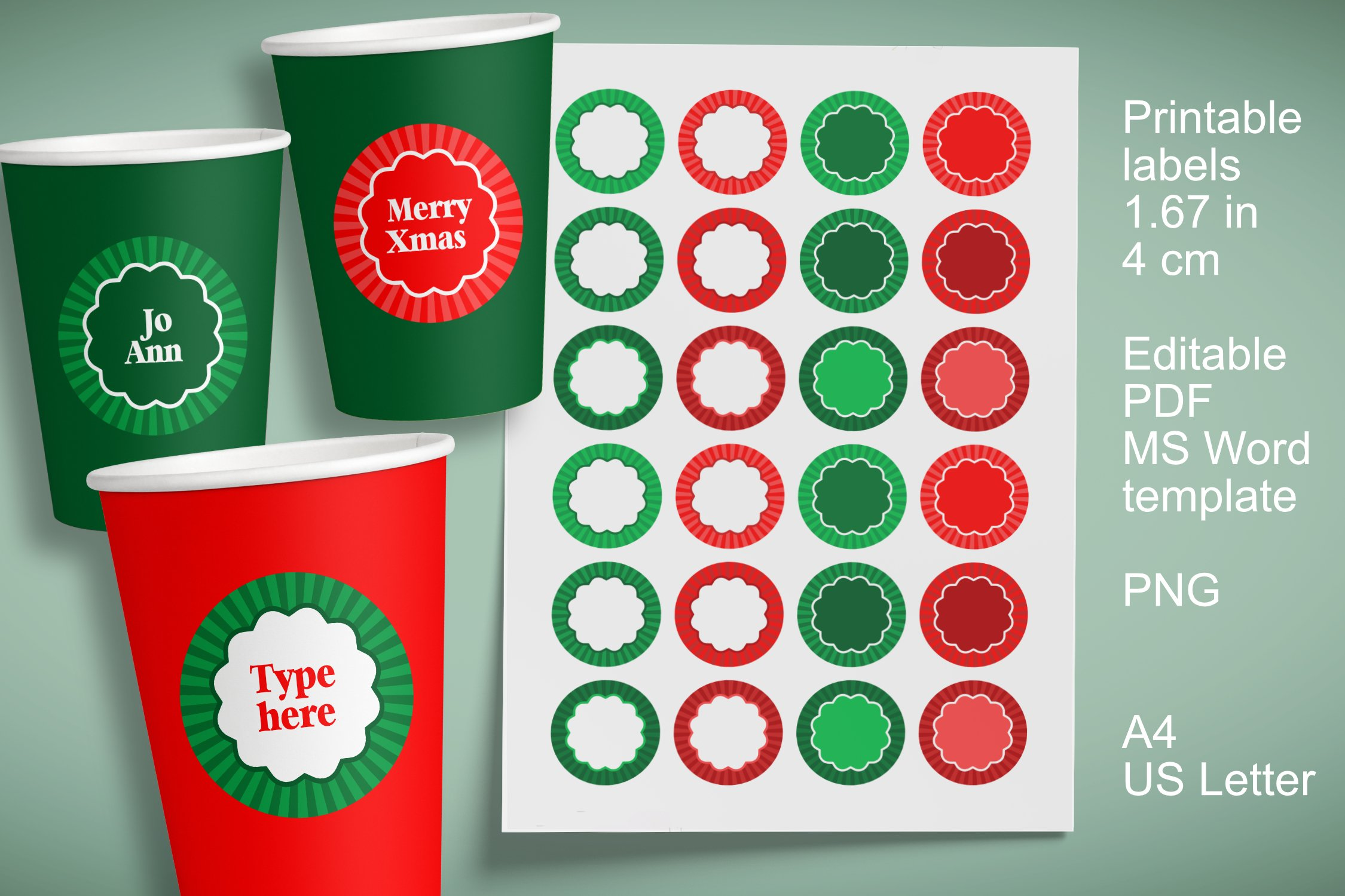 Small Christmas Labels 1.6 in, EU 4 cm for A4 and US Letter example image 1