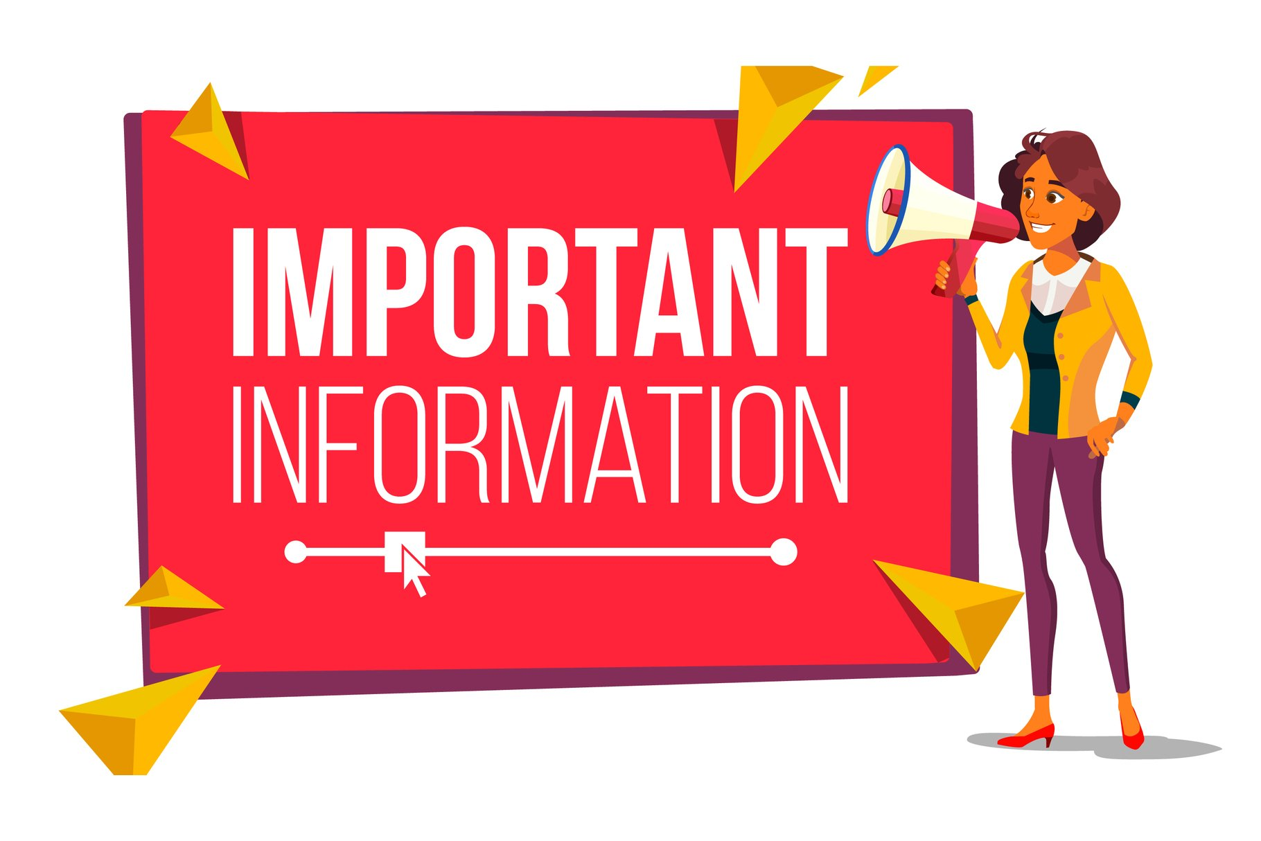 Important Information Banner Vector. Business Woman With example image 1