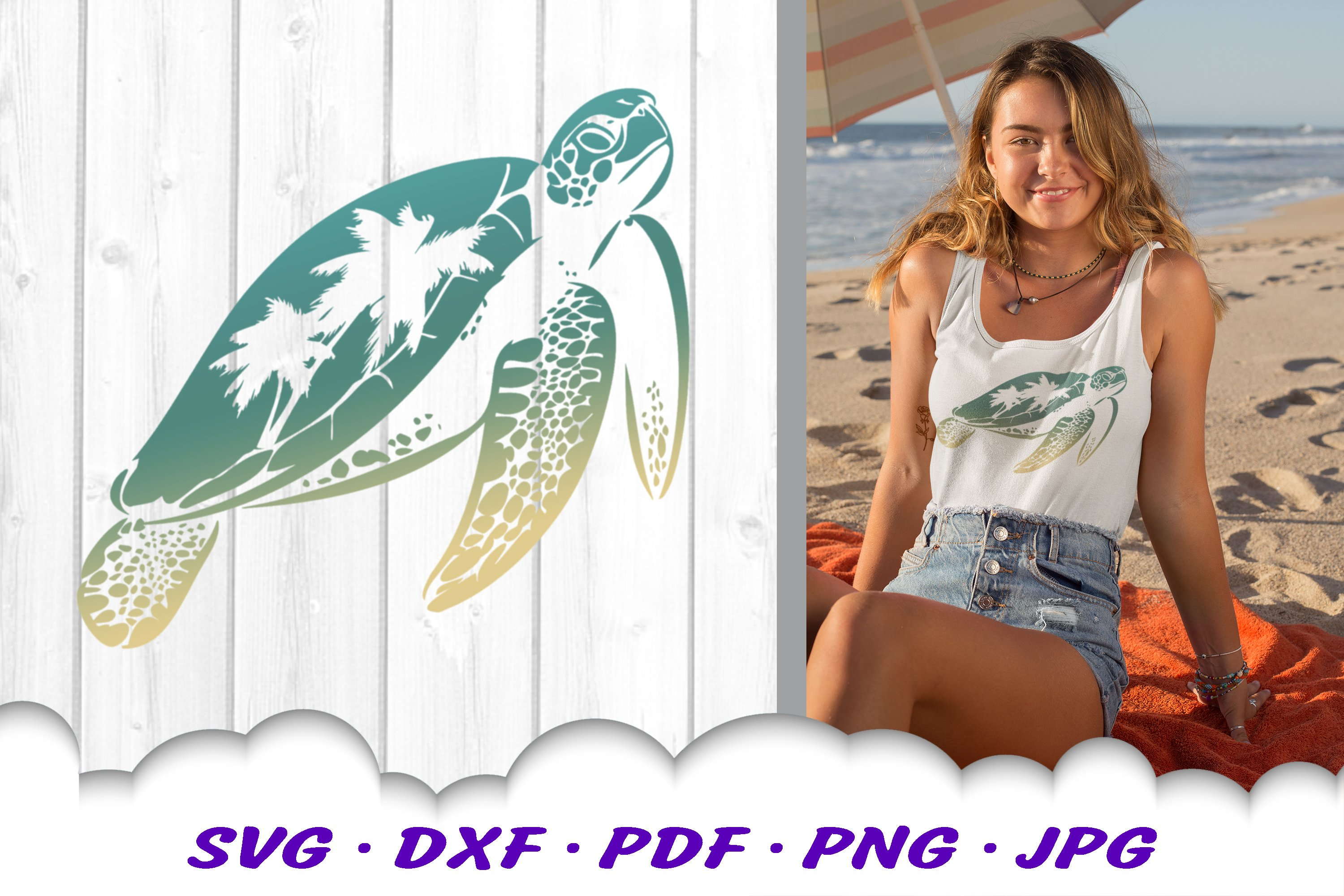 Sea Turtle Palm Tree SVG DXF Cut Files example image 1
