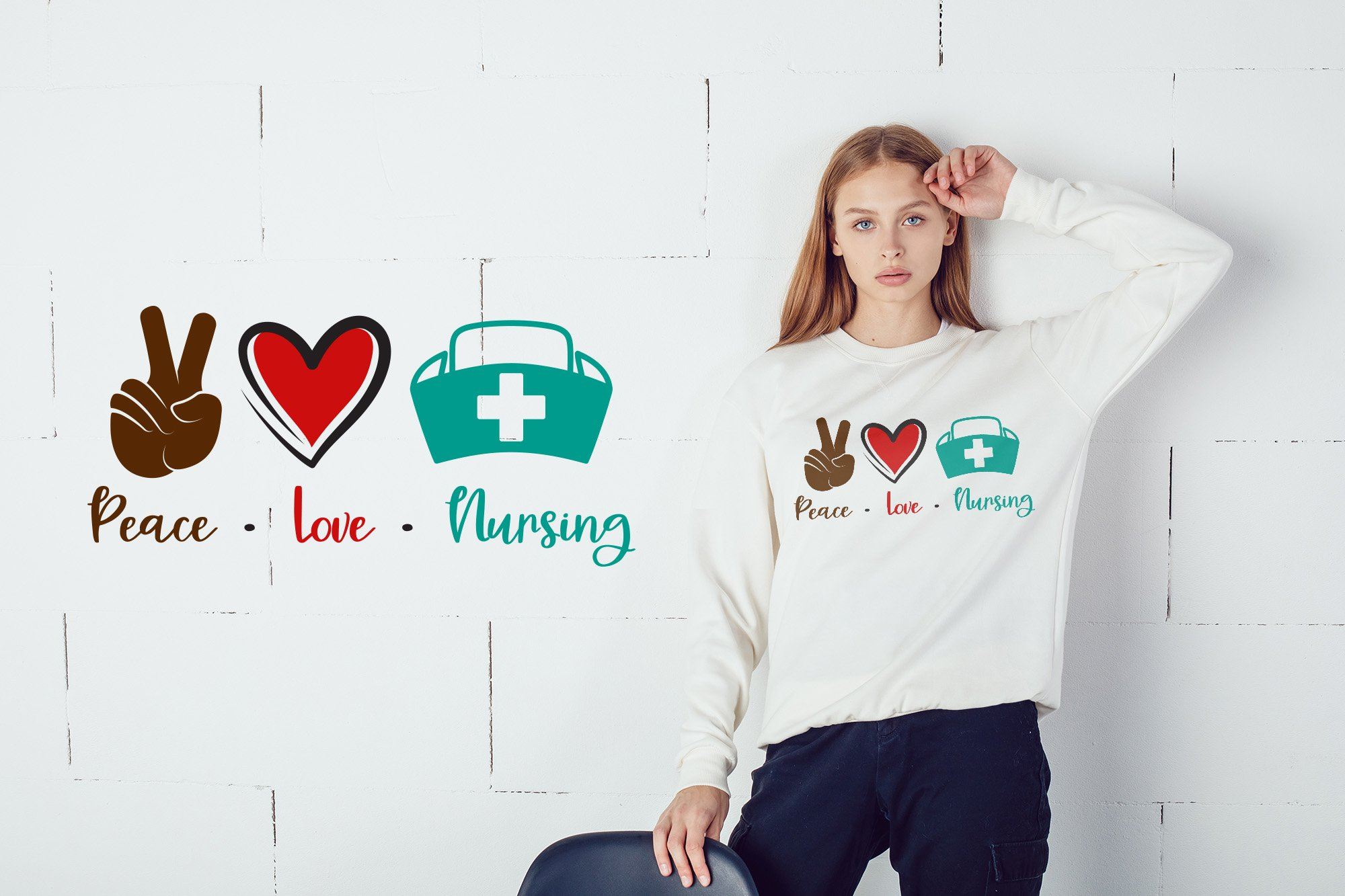 Download Peace Love Nursing Svg Dxf Pdf Eps Png 924388 Cut Files Design Bundles