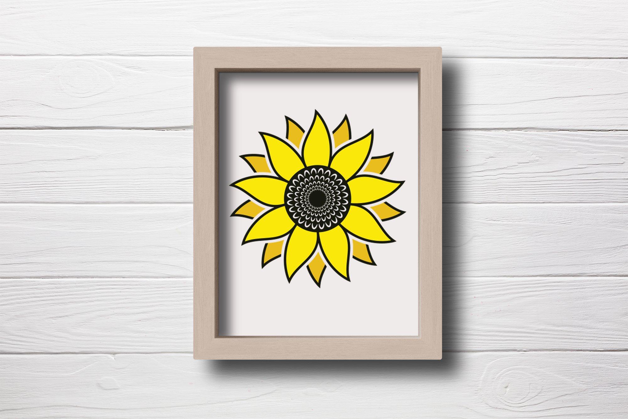 Sunflower SVG, Sunflower Clipart, Sunflower Monogram SVG example image 4