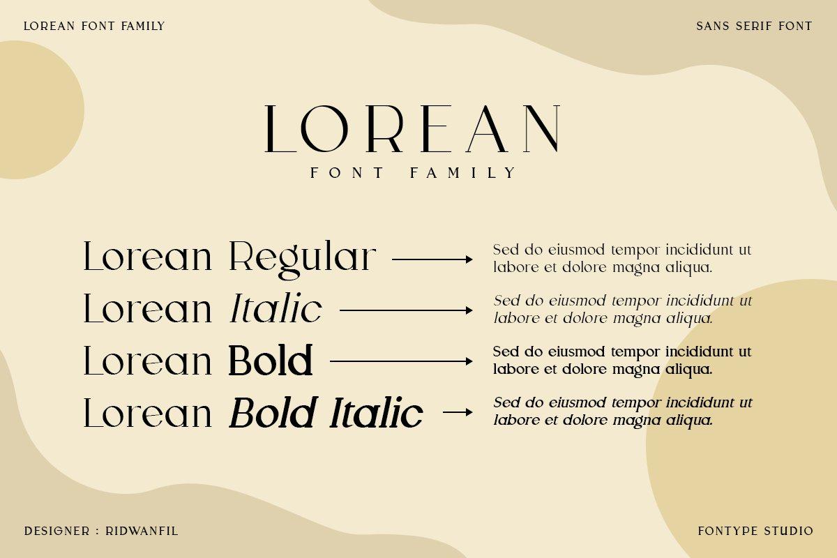 Lorean Font Family - Sans Serif Modern Style example image 2