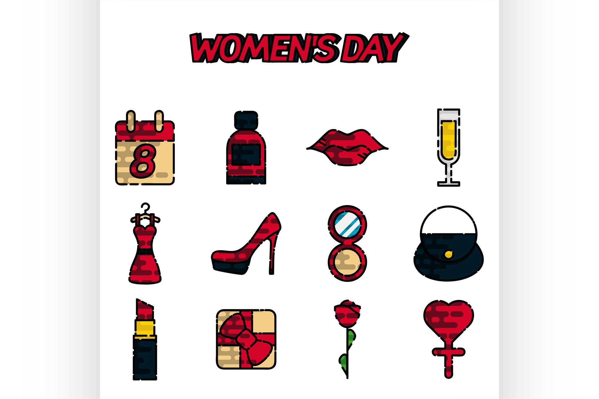 Womens day flat icons set example image 1