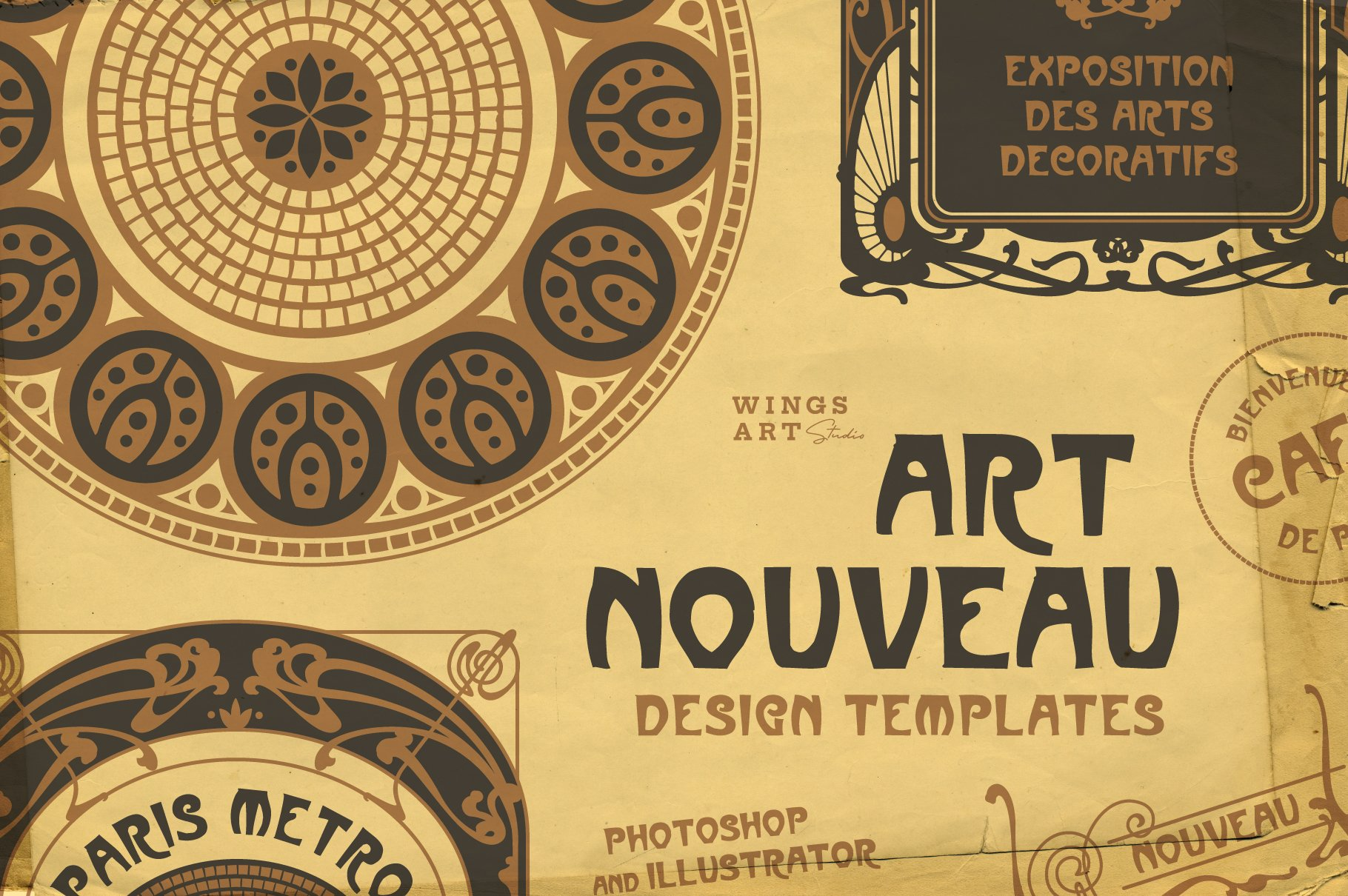 Vintage Art Nouveau Style Design Templates example image 1