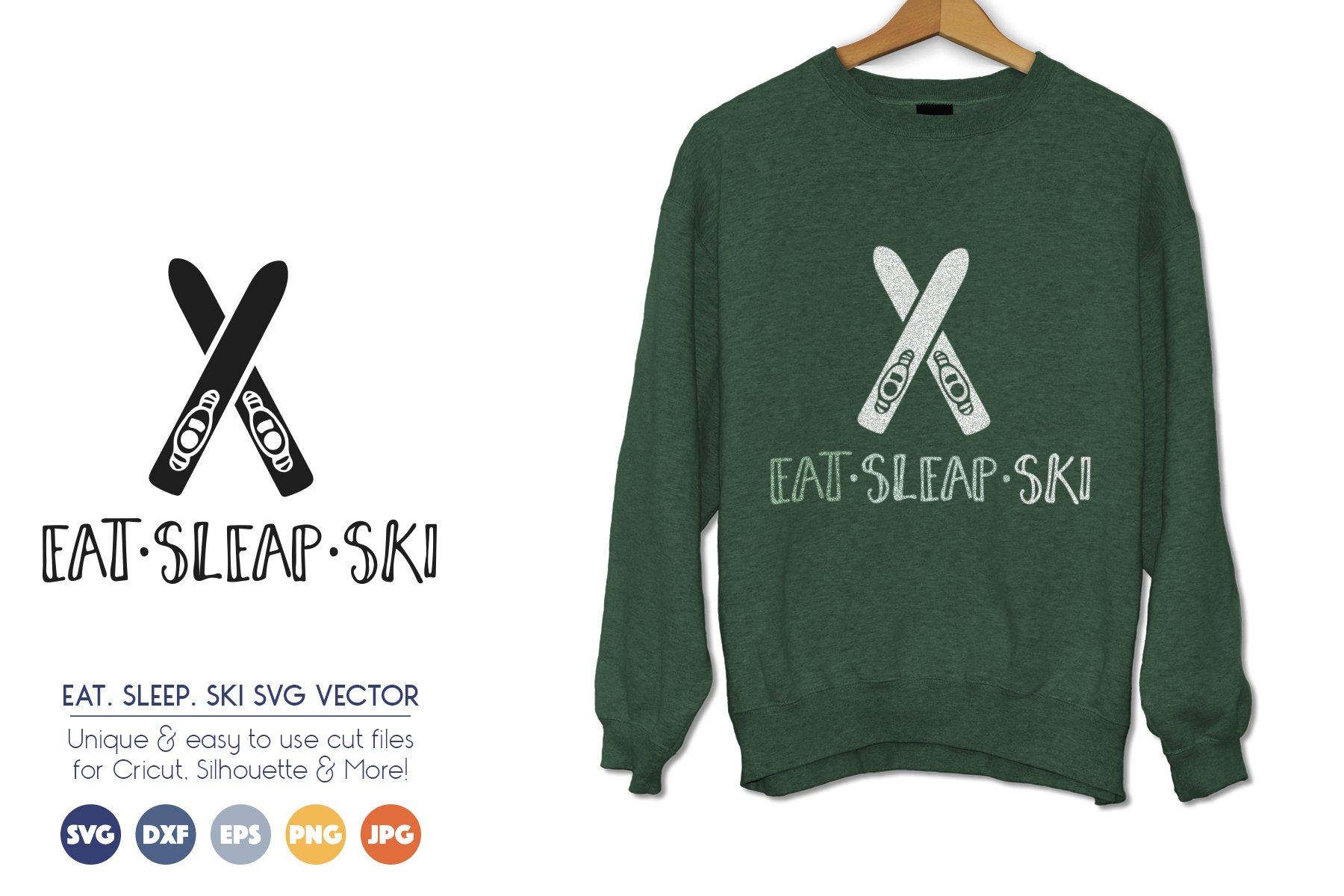 Ski SVG - Eat, Sleep, Ski - Winter Sports Vector example image 1