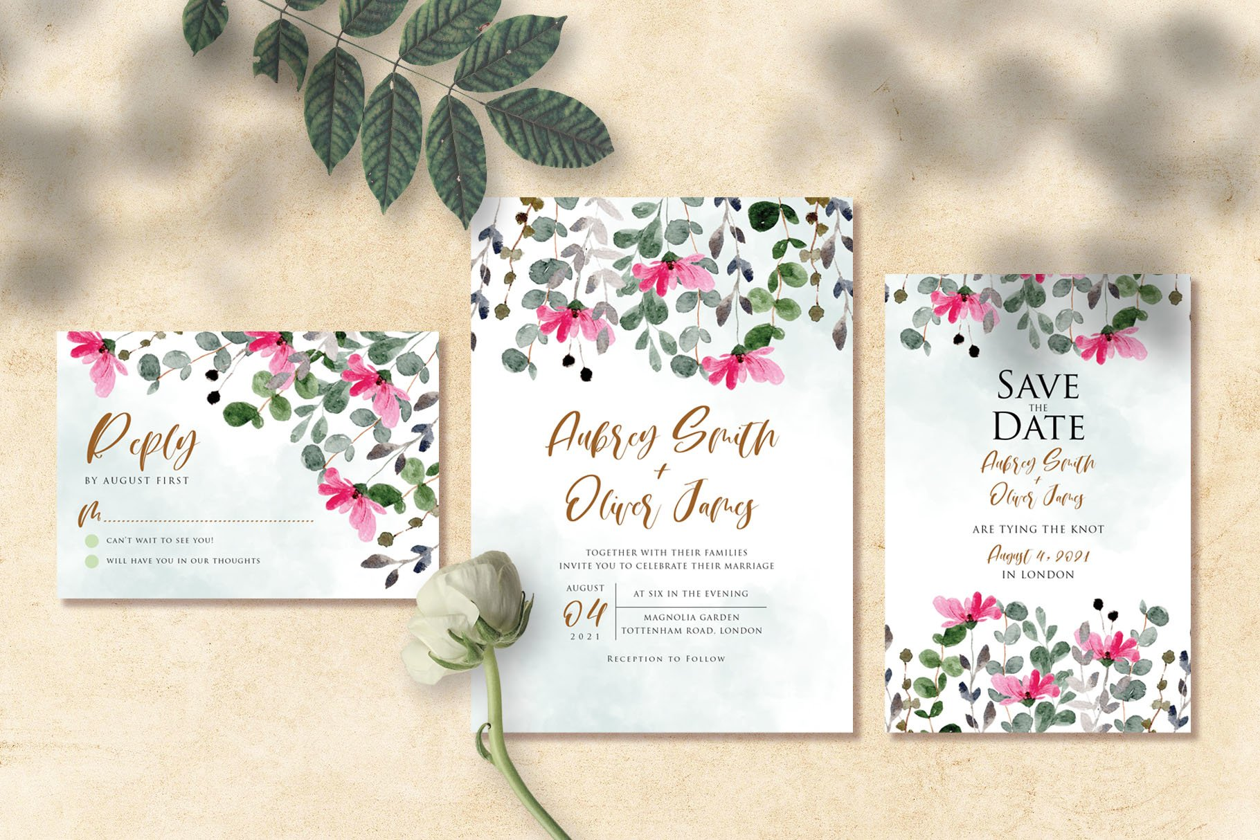 Flower and Leaves Watercolor Wedding Invitation Suite example image 3