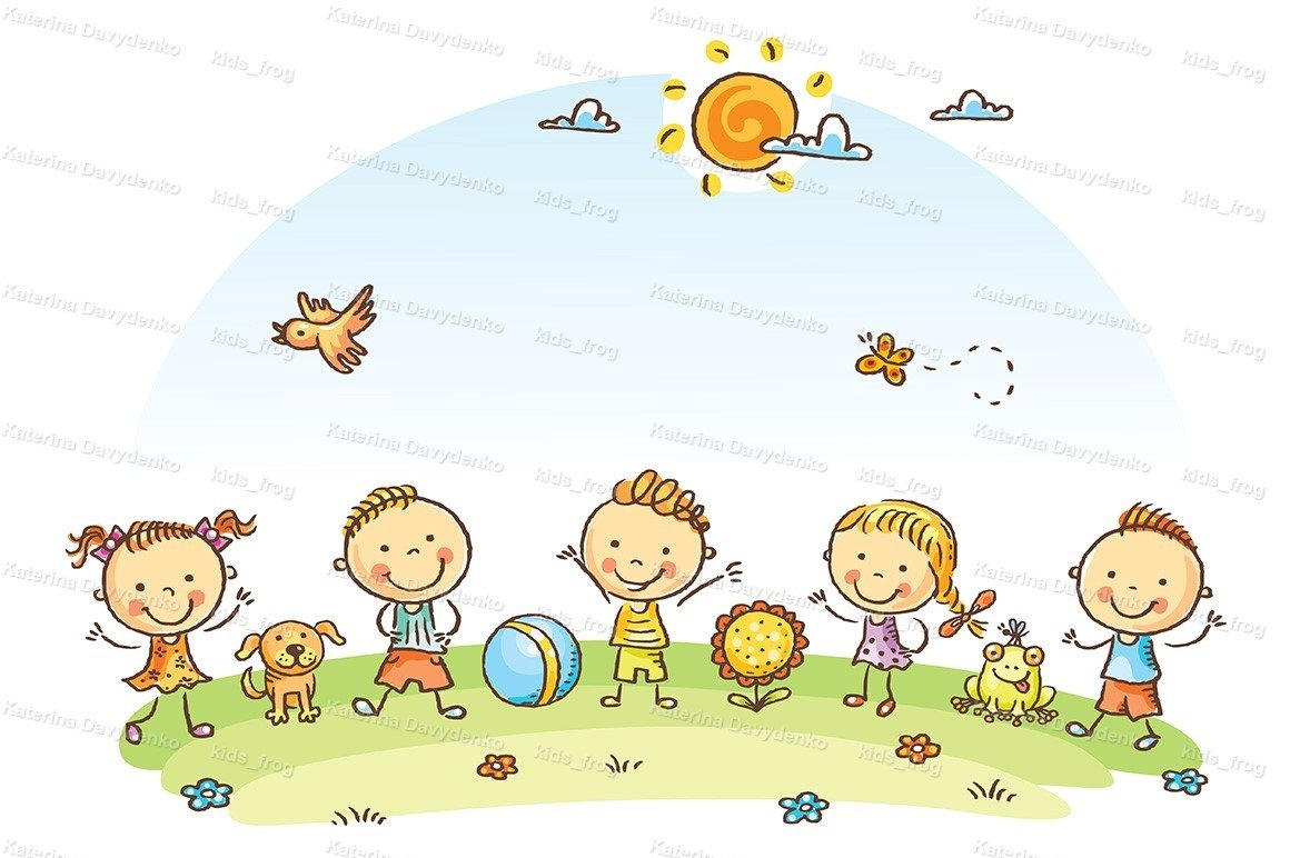 Happy cartoon kids outdoors on a green meadow example image 1