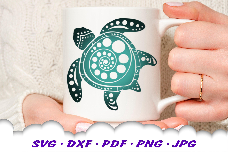 Spiral Circle Round Mandala Sea Turtle SVG DXF Cut Files example image 2