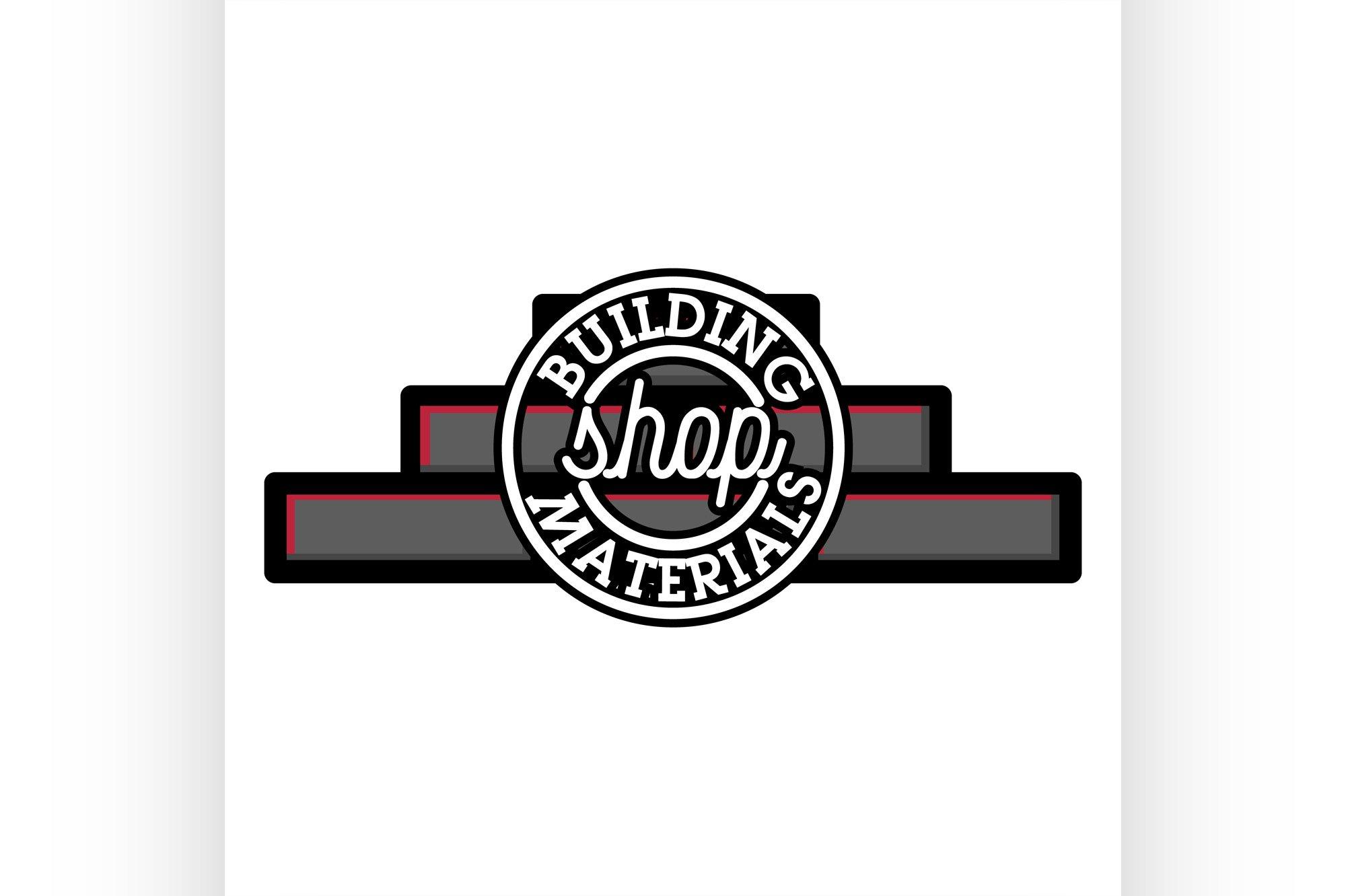Color vintage building materials shop emblem example image 1