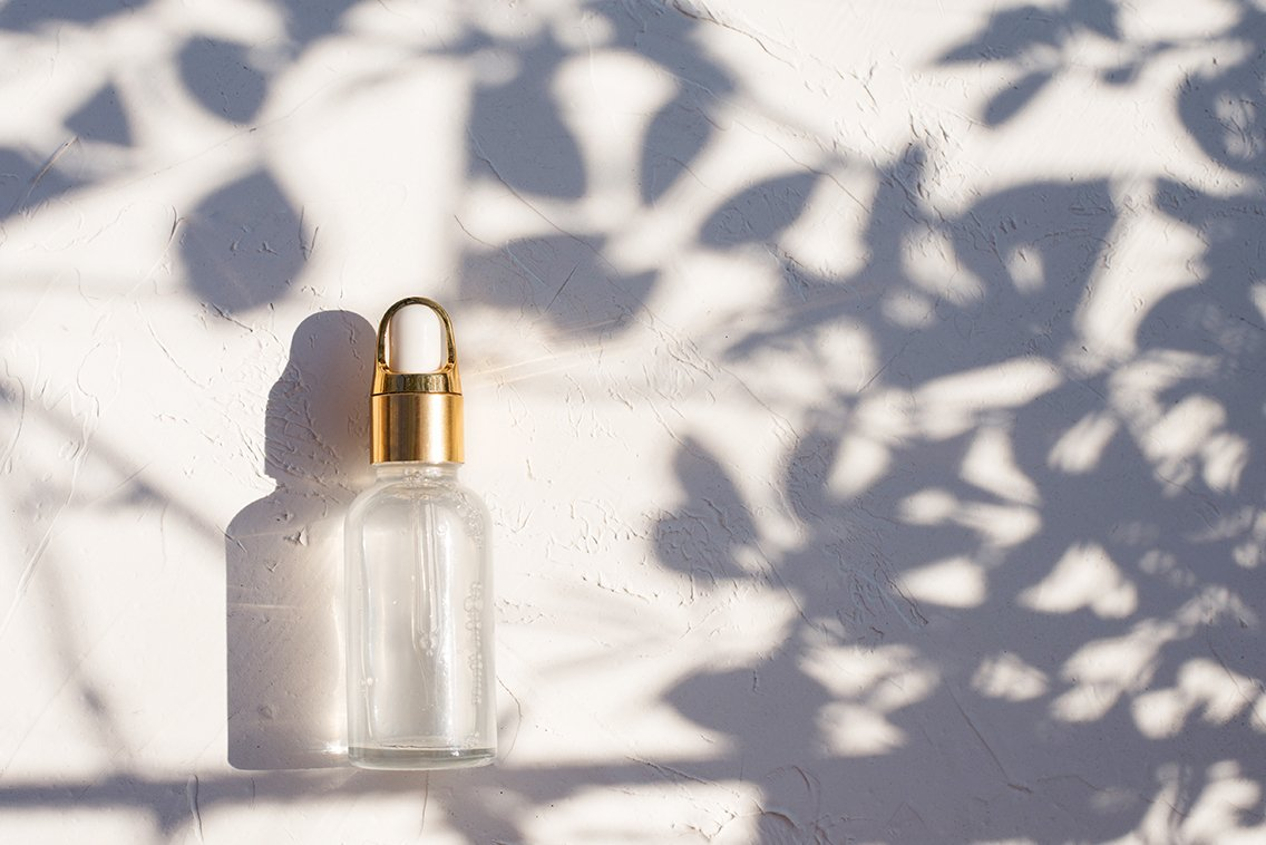 dropper glass bottle with cosmetic oil or serum example image 1
