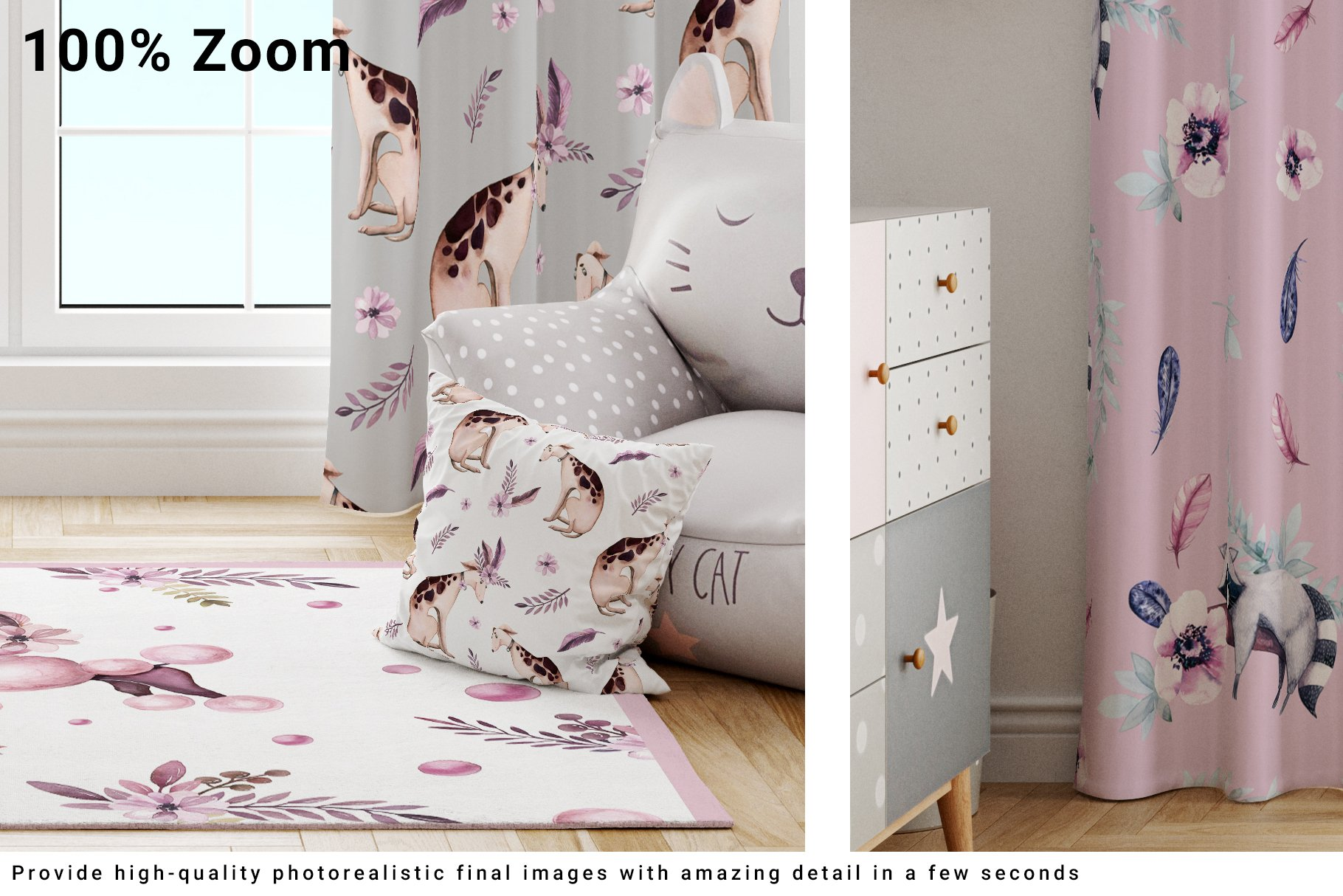 Kids Room - Curtains Carpet and Pillows Set example image 3
