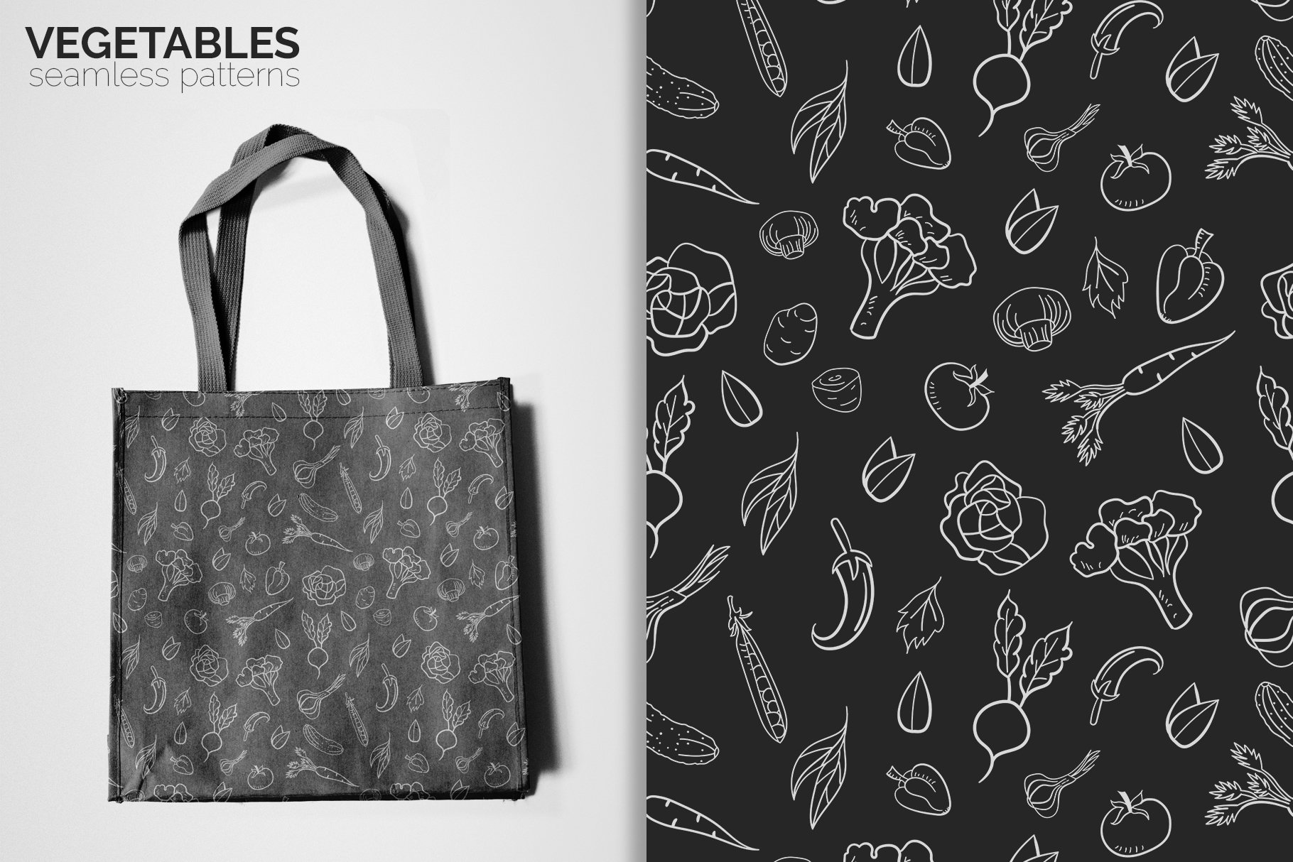 Vegetables Seamless Patterns example image 5