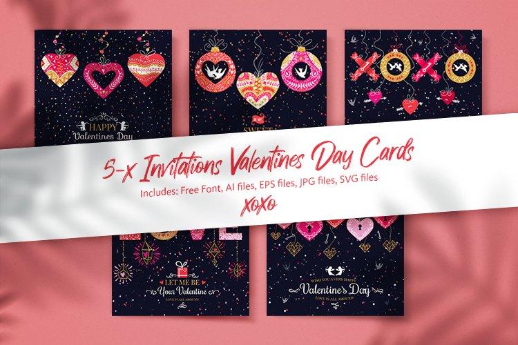 Download 5 Valentine S Day Cards 646250 Illustrations Design Bundles