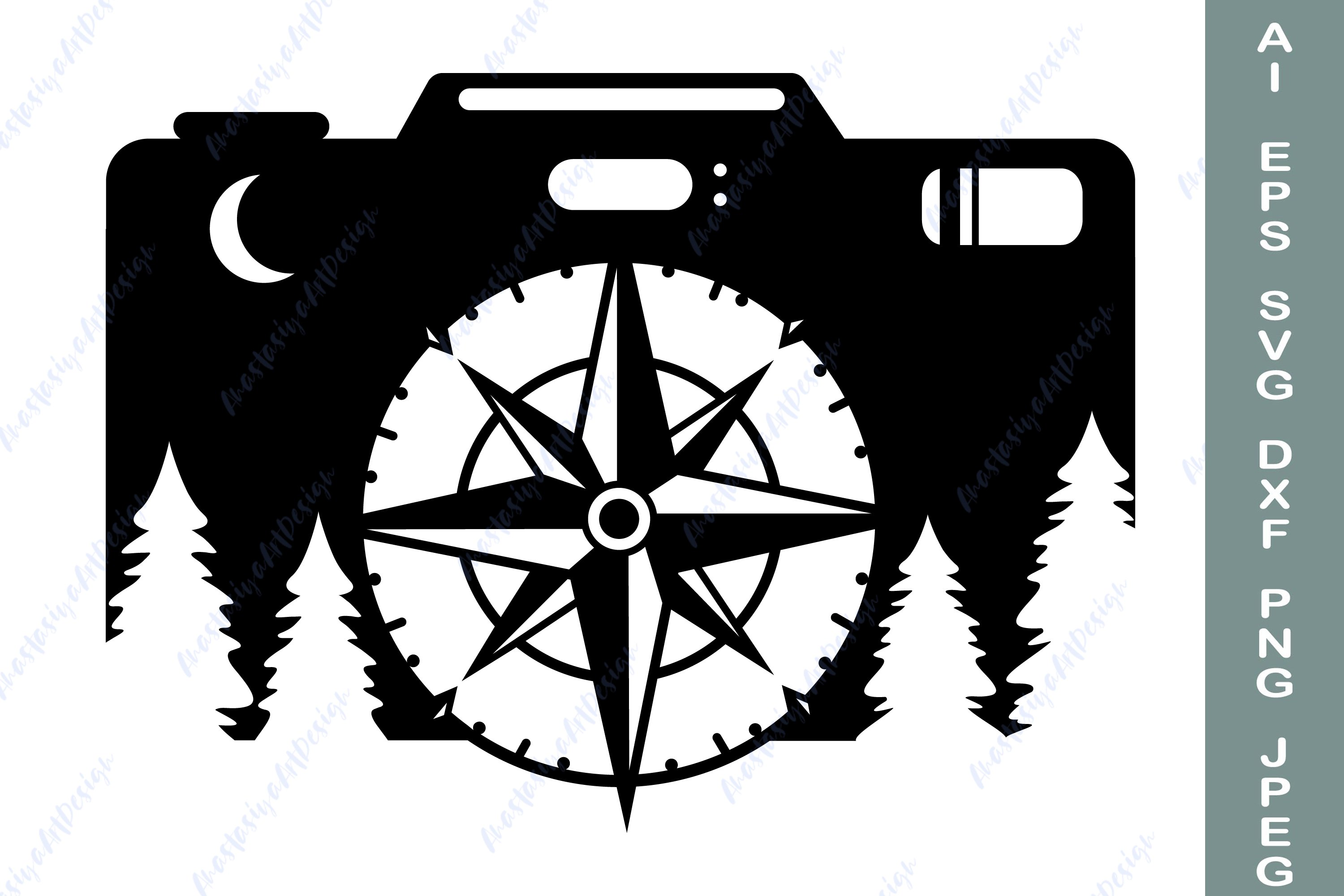 Camera and compass svg, Camping shirt svg, Travel dxf example image 2