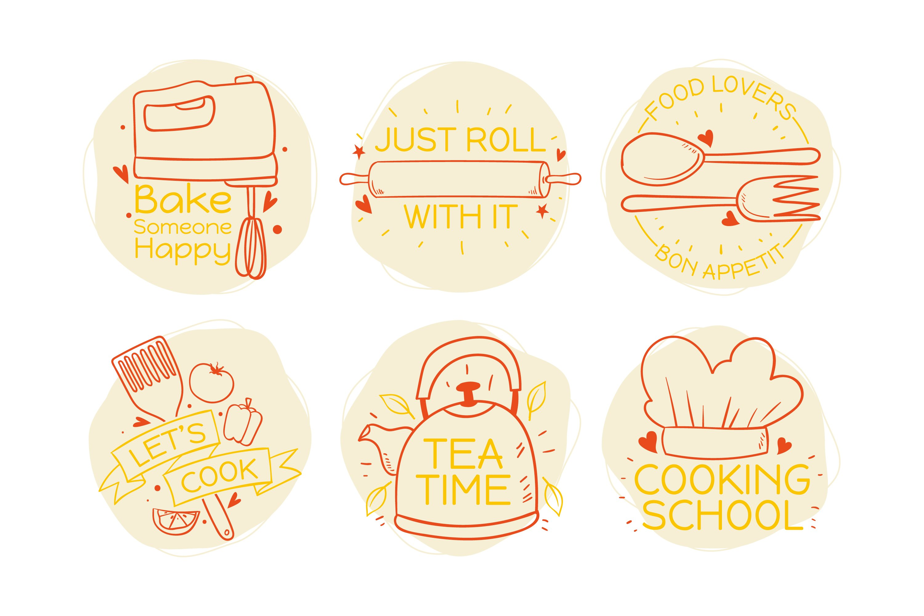 Set of Cooking Quotes Label example image 1