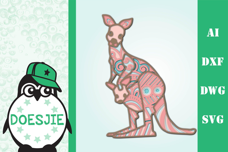 Download 3d svg layered Multi layer kangaroo mandala animal (539764 ...