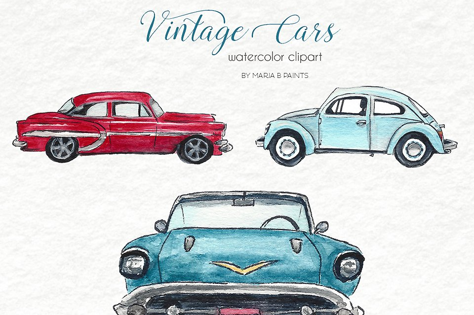 Download Watercolor Clip Art Vintage Cars 17689 Illustrations Design Bundles