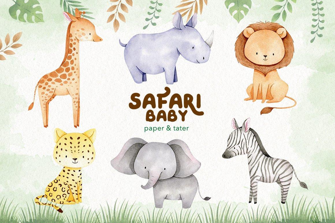 Watercolor Safari Baby Animals Clipart Graphics example image 3