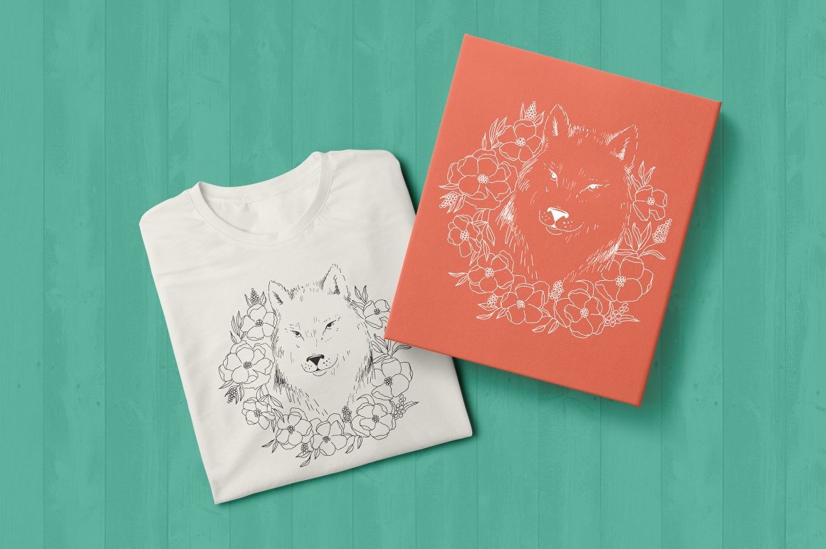 Wolf SVG / Wolf illustration / Wolf with flowers example image 2