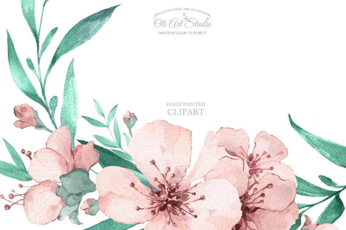 Watercolor sakura wreaths example image 4