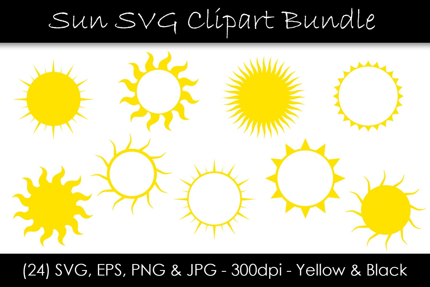 Sun SVG Bundle - Sun Shape Clip Art example image 1