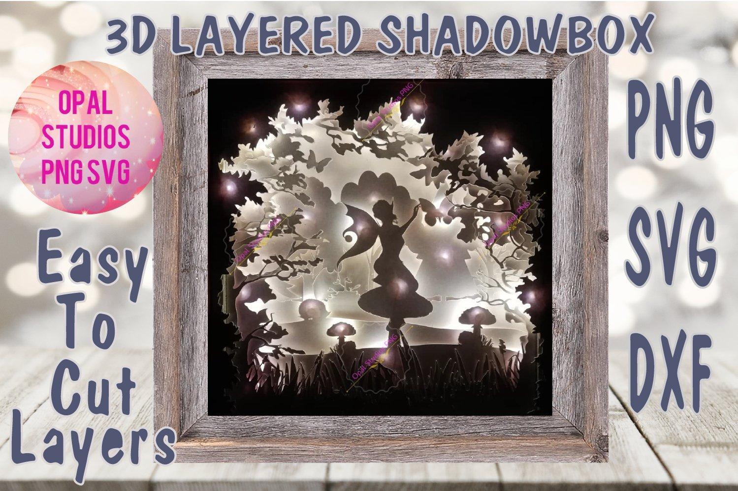 fairy fantasy mystical woodland pretty scenery pretty girly papercutting 3d shadowbox shadow box light SVG PNG DXF digital Cricut Personal