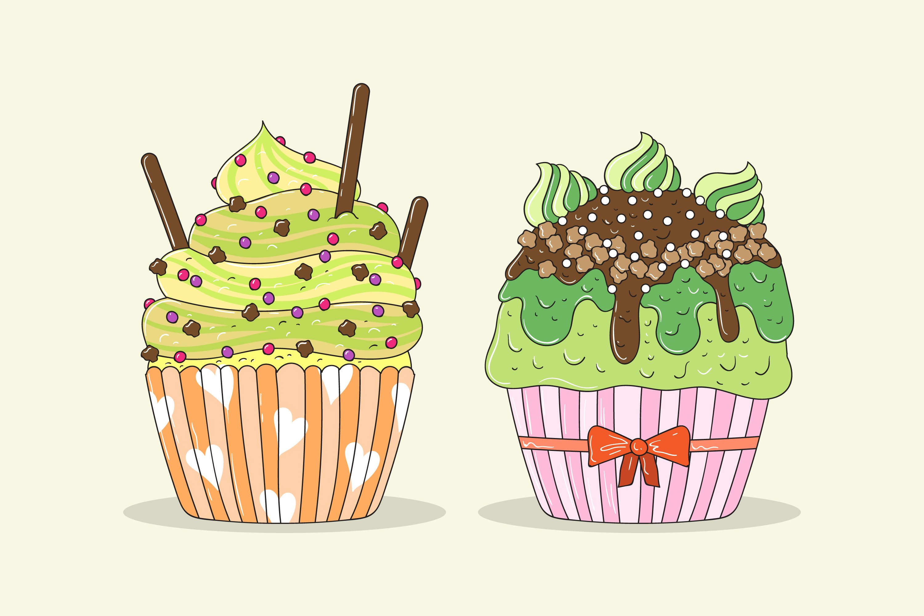 Delicious Cupcakes Illustrations example image 1