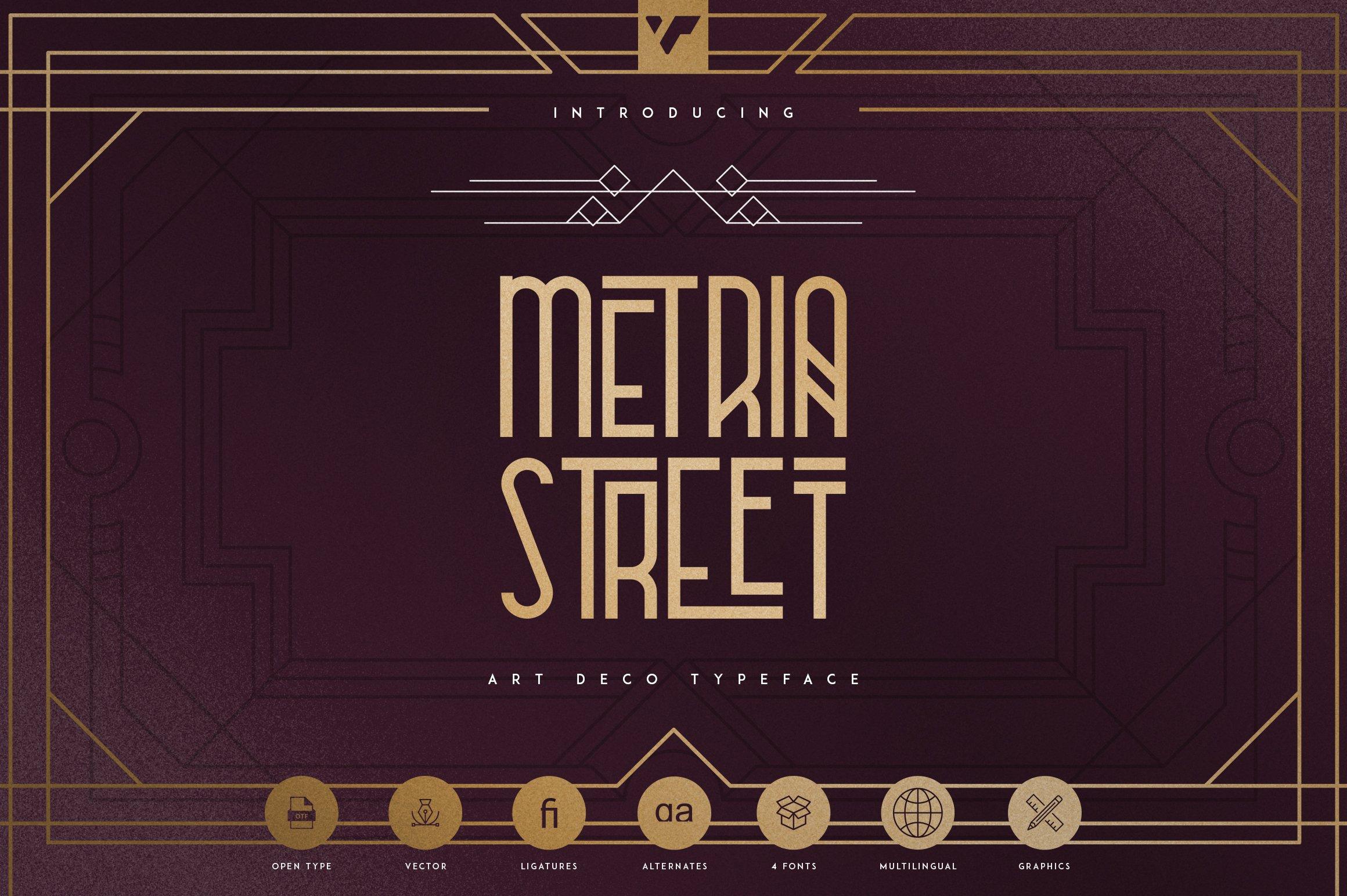 Metria Street - Art Deco Typeface example image 1