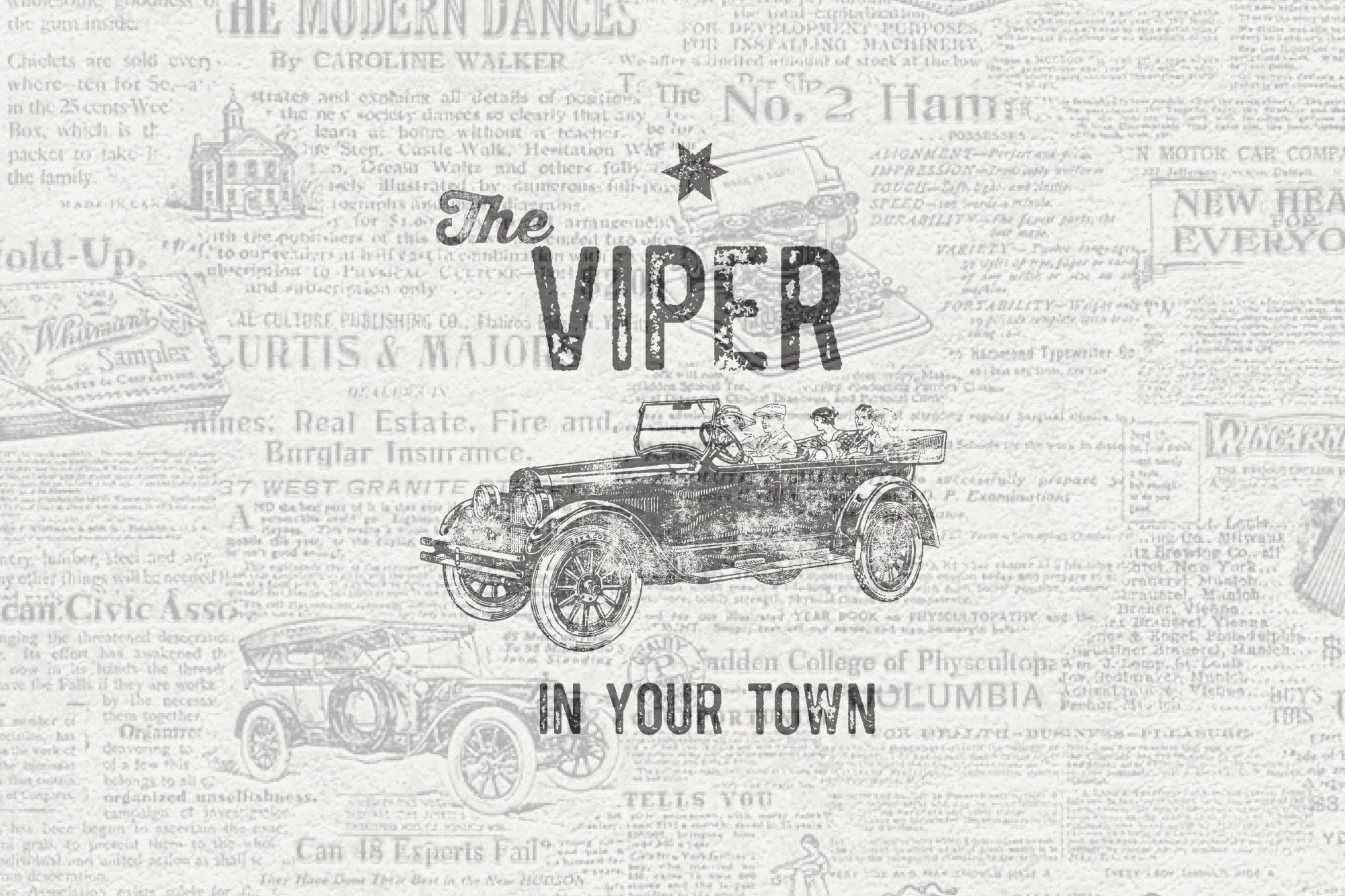 Vintage Pack-17 fonts and elements example image 7