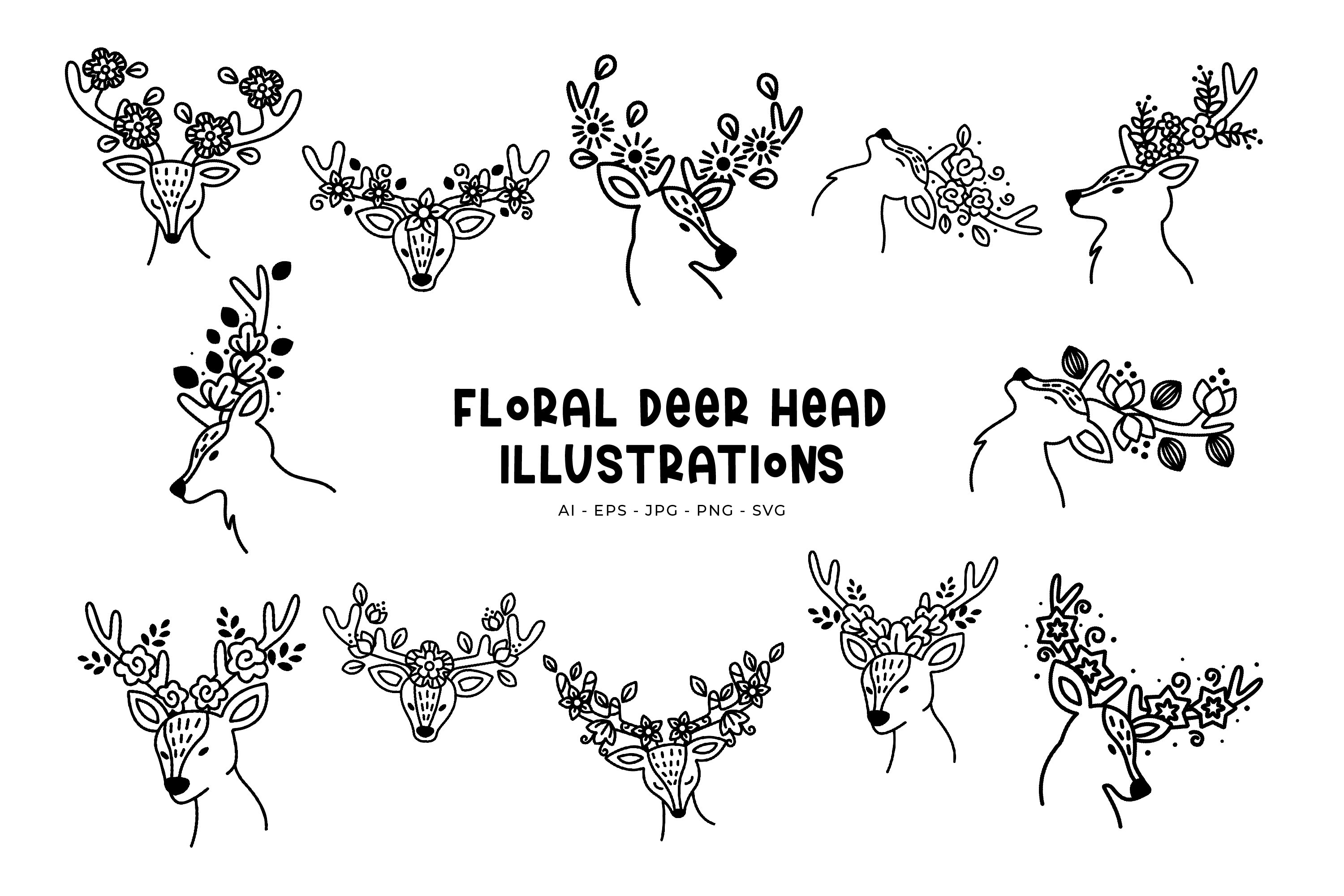 Floral Deer Head illustration example image 1