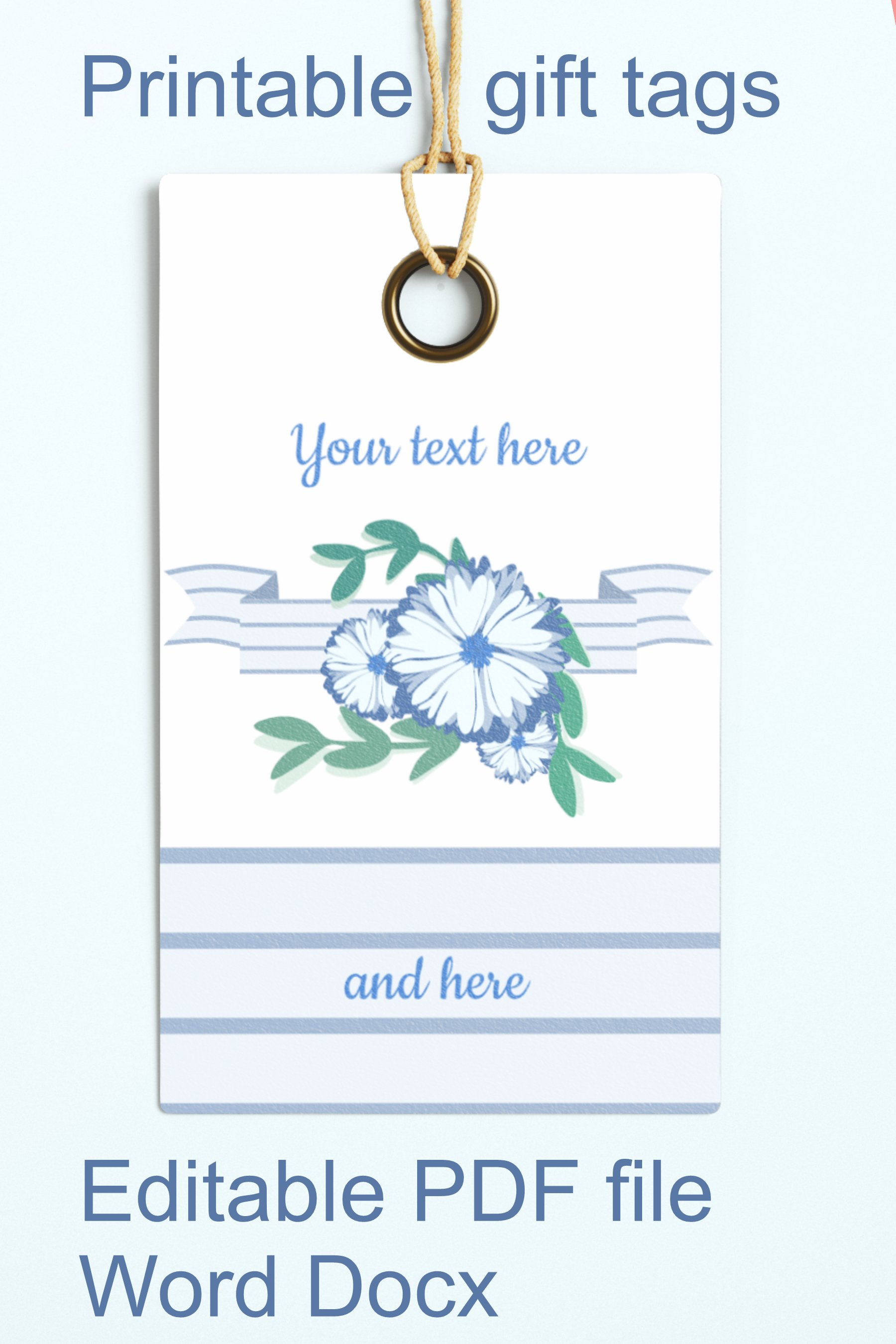 Blue Baby Shower Floral Gift Tags Editable PDF Word Template example image 3
