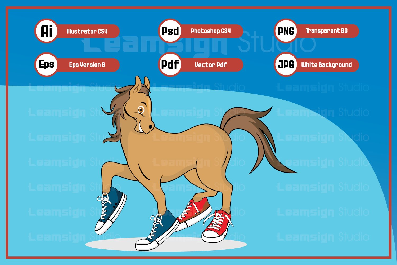 Funny Horse Cartoon Wearing Shoes Character Illustration 320264 Illustrations Design Bundles