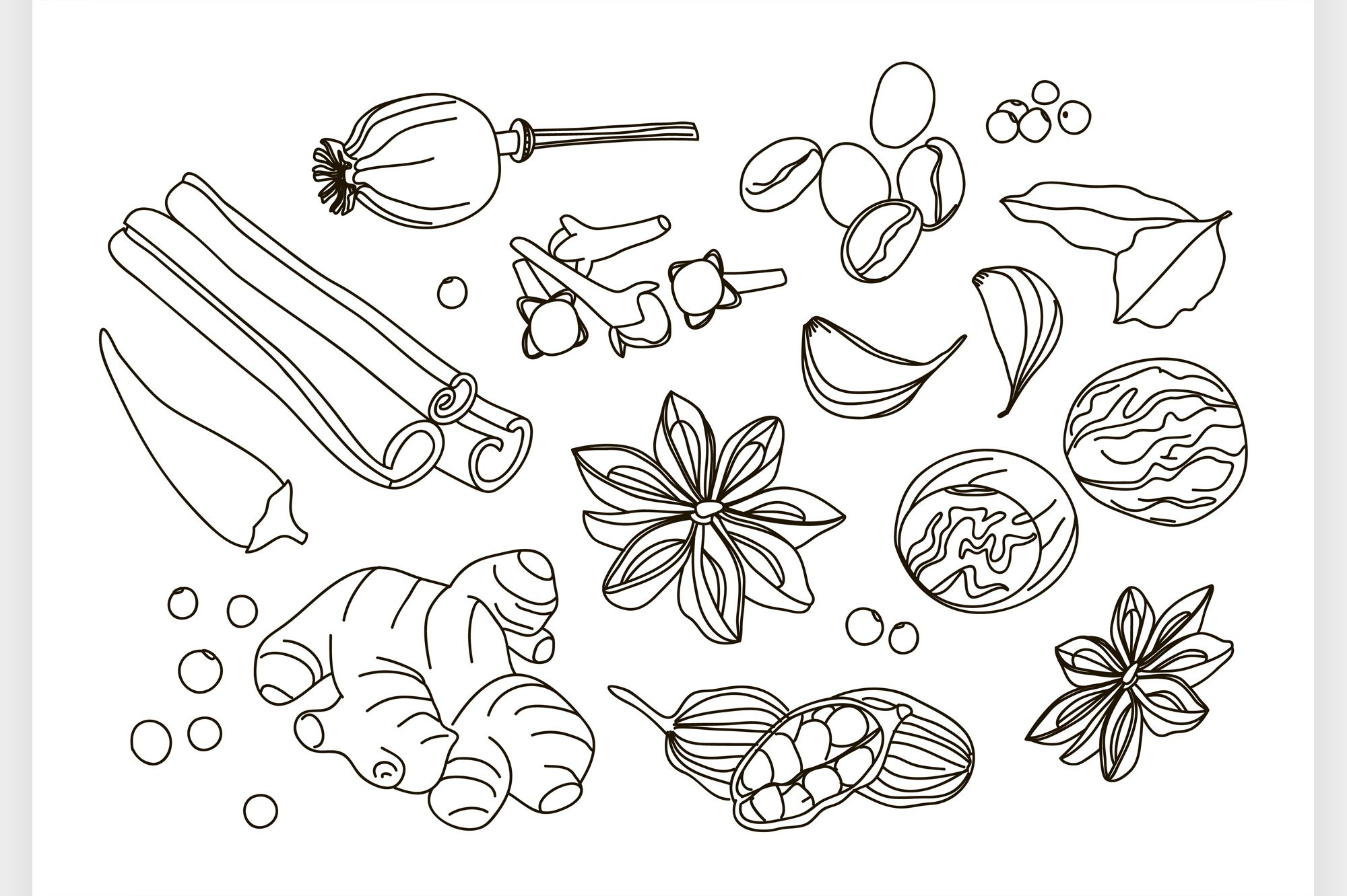 Spices, condiments and herbs decorative elements example image 1