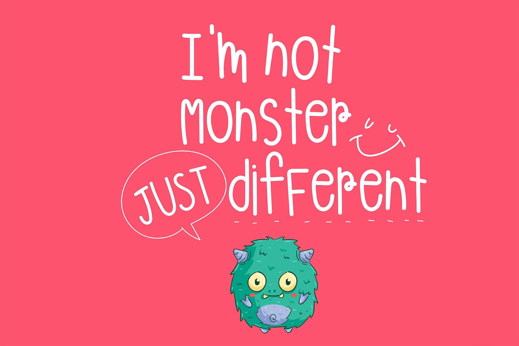 Monster Playground Handwritten- cute kid font Kawaii style! example image 2